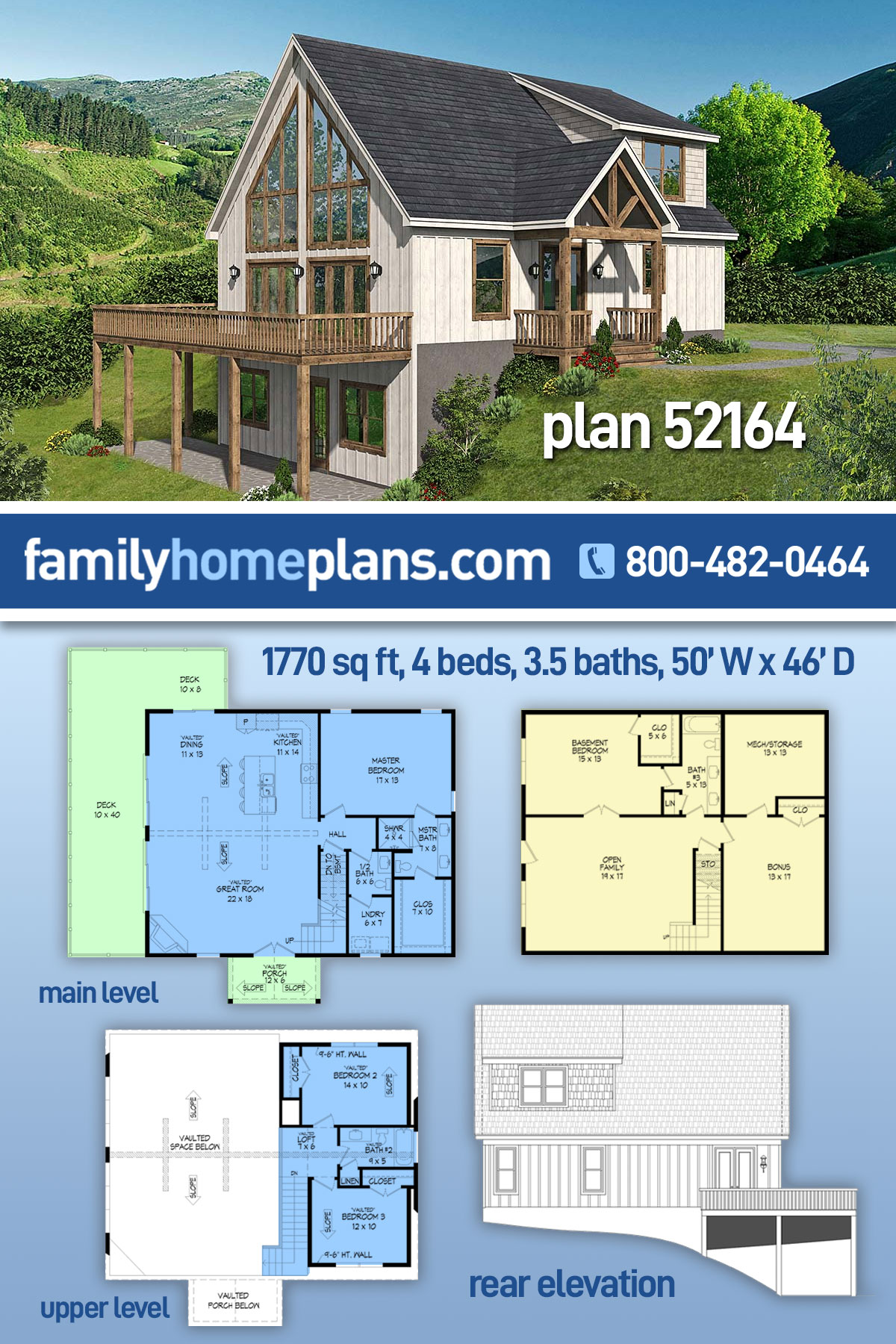 A-Frame, Contemporary House Plan 52164 with 4 Beds, 4 Baths