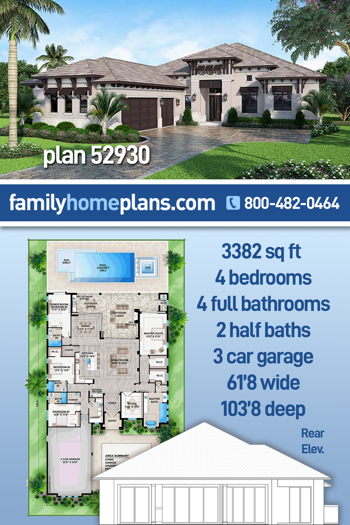 Coastal, Florida, Mediterranean House Plan 52930 with 4 Beds, 6 Baths, 3 Car Garage