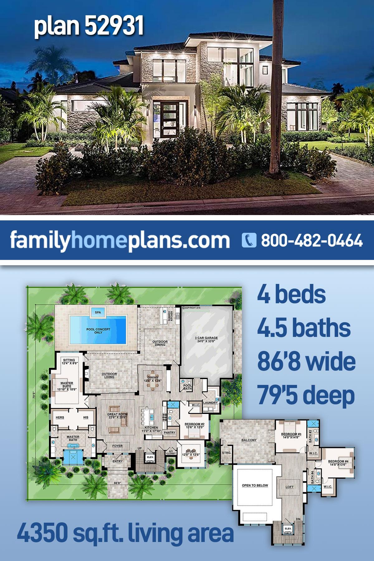 Coastal, Contemporary, Florida, Mediterranean House Plan 52931 with 4 Beds, 5 Baths, 3 Car Garage