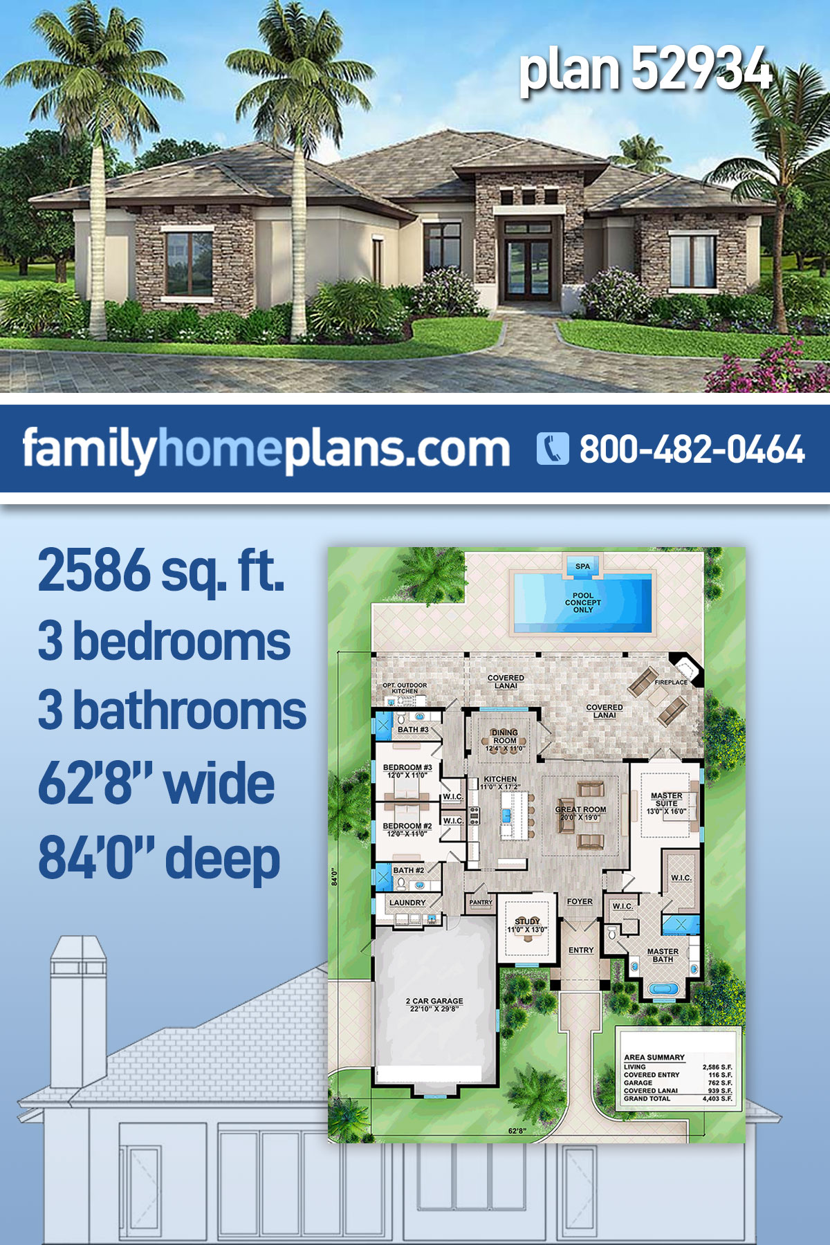 Coastal, Florida House Plan 52934 with 3 Beds, 3 Baths, 2 Car Garage