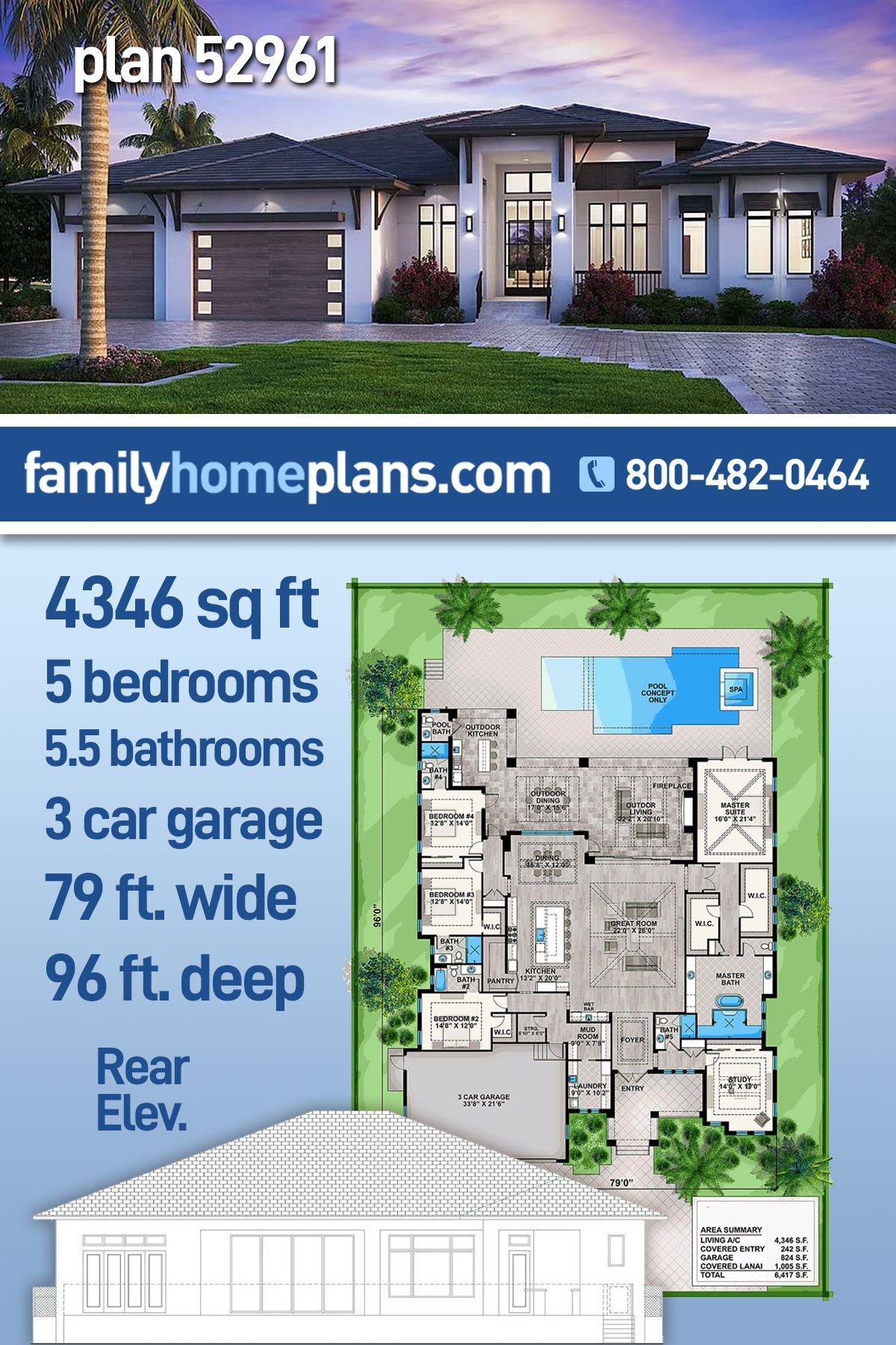 Coastal, Contemporary, Florida House Plan 52961 with 5 Beds, 6 Baths, 3 Car Garage