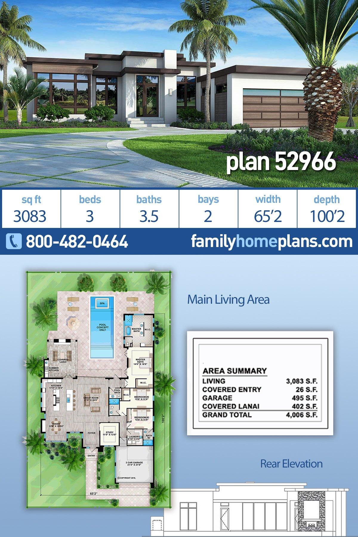 Contemporary, Florida, Modern, Southwest House Plan 52966 with 3 Beds, 4 Baths, 2 Car Garage