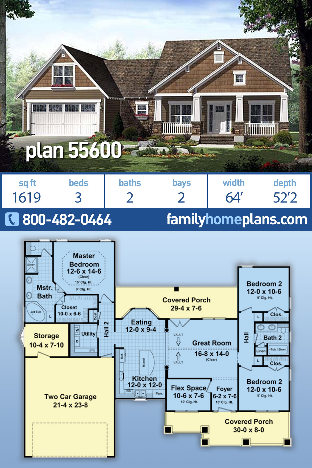 Cottage, Country, Craftsman, Southern House Plan 55600 with 3 Beds, 2 Baths, 2 Car Garage