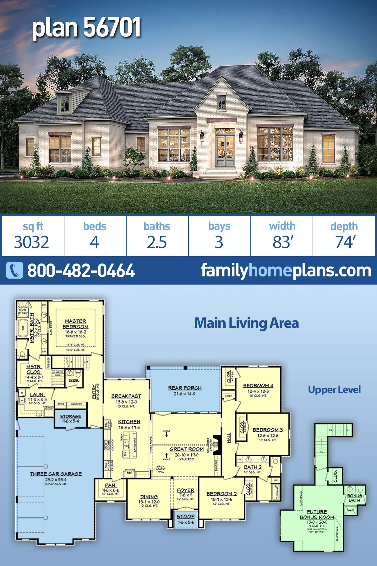 Country, European, French Country House Plan 56701 with 4 Beds, 3 Baths, 3 Car Garage