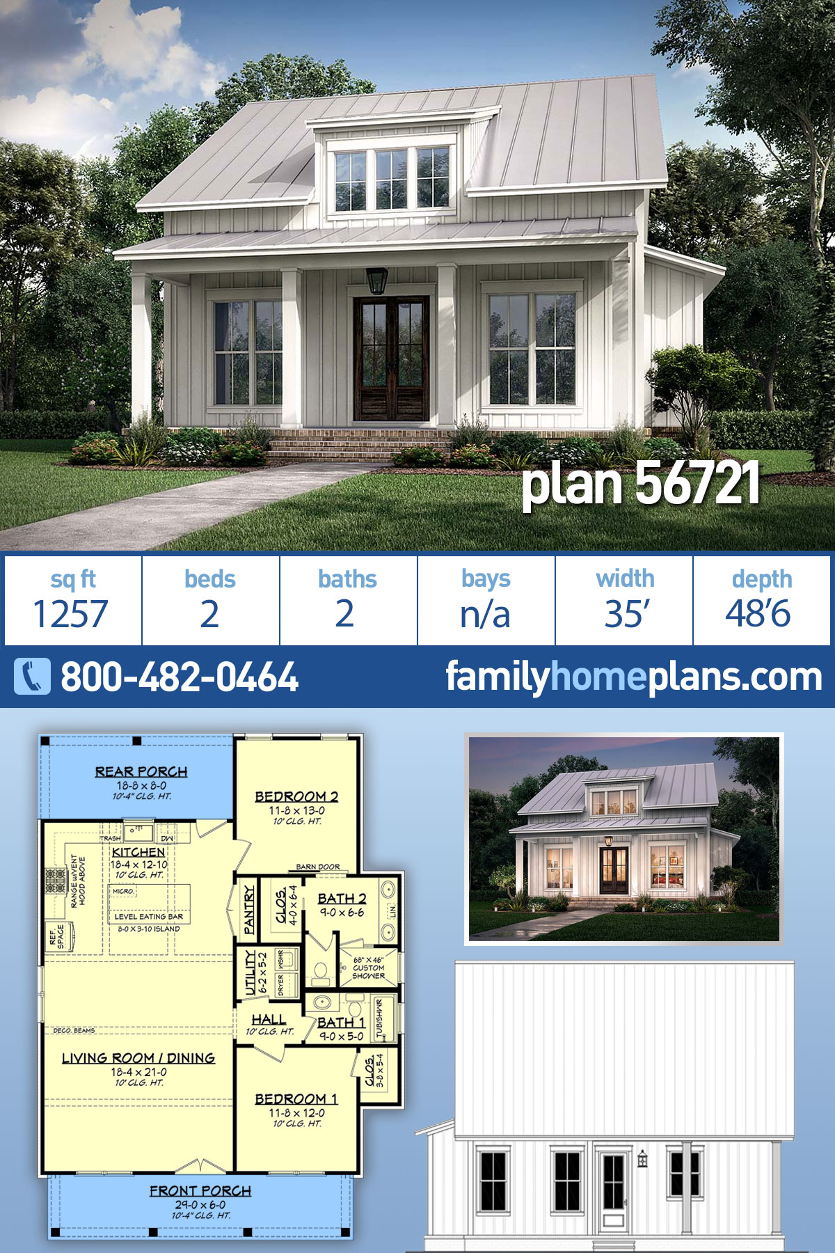 Cottage, Country, Farmhouse House Plan 56721 with 2 Beds, 2 Baths
