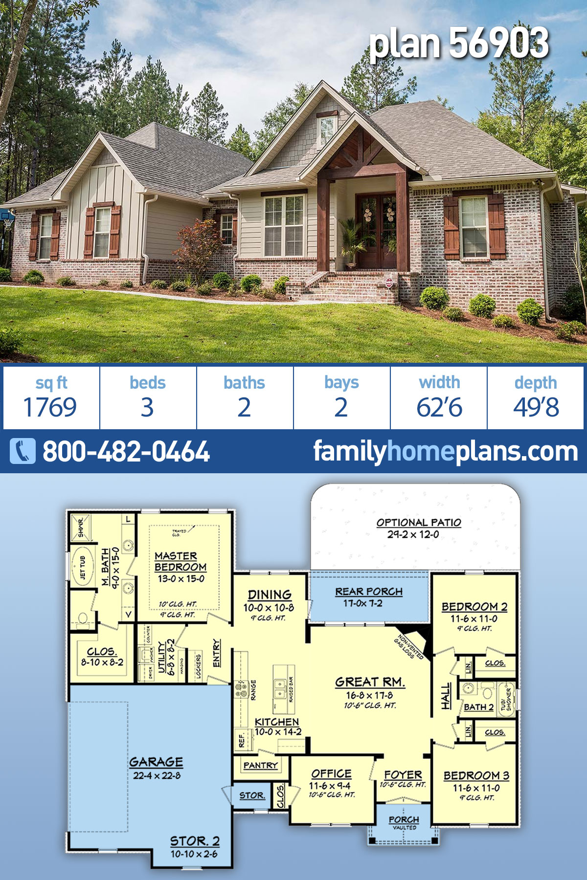 Country, Craftsman, Traditional House Plan 56903 with 3 Beds, 2 Baths, 2 Car Garage