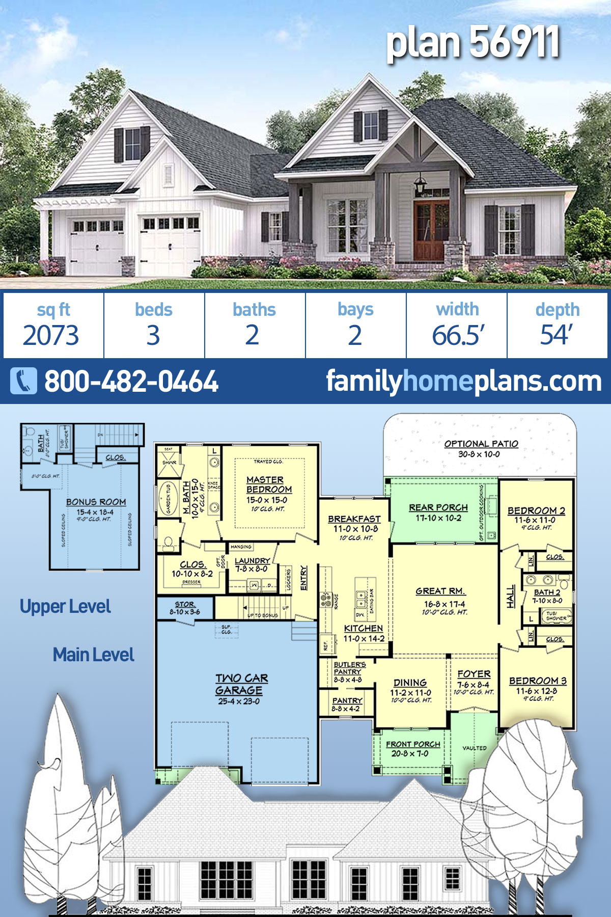Country, Craftsman, Southern, Traditional House Plan 56911 with 3 Beds, 2 Baths, 2 Car Garage