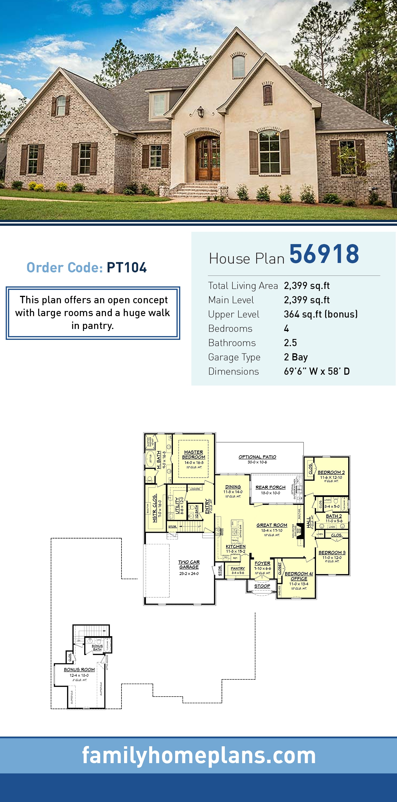 European, French Country, Southern, Traditional House Plan 56918 with 4 Beds, 3 Baths, 2 Car Garage