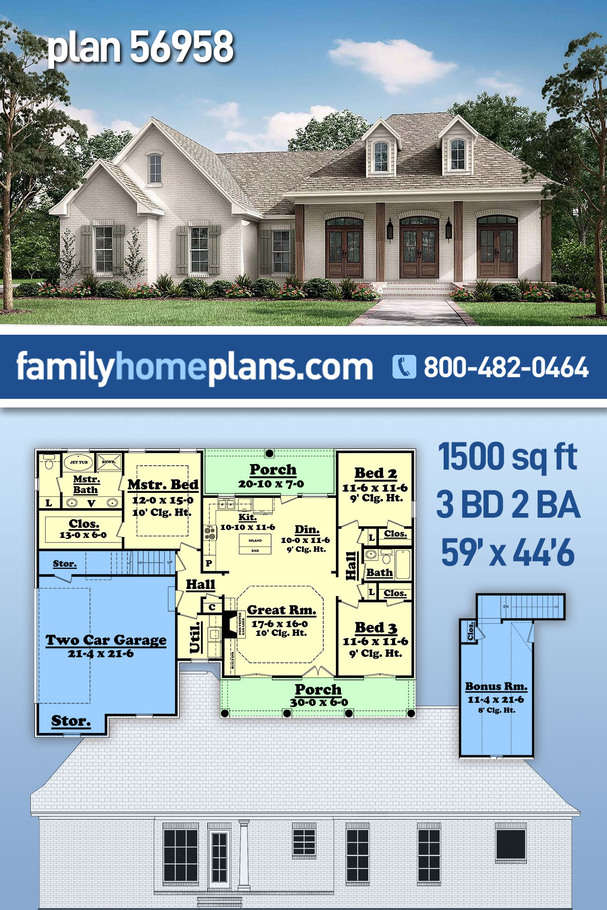 Acadian, Country, European, French Country House Plan 56958 with 3 Beds, 2 Baths, 2 Car Garage
