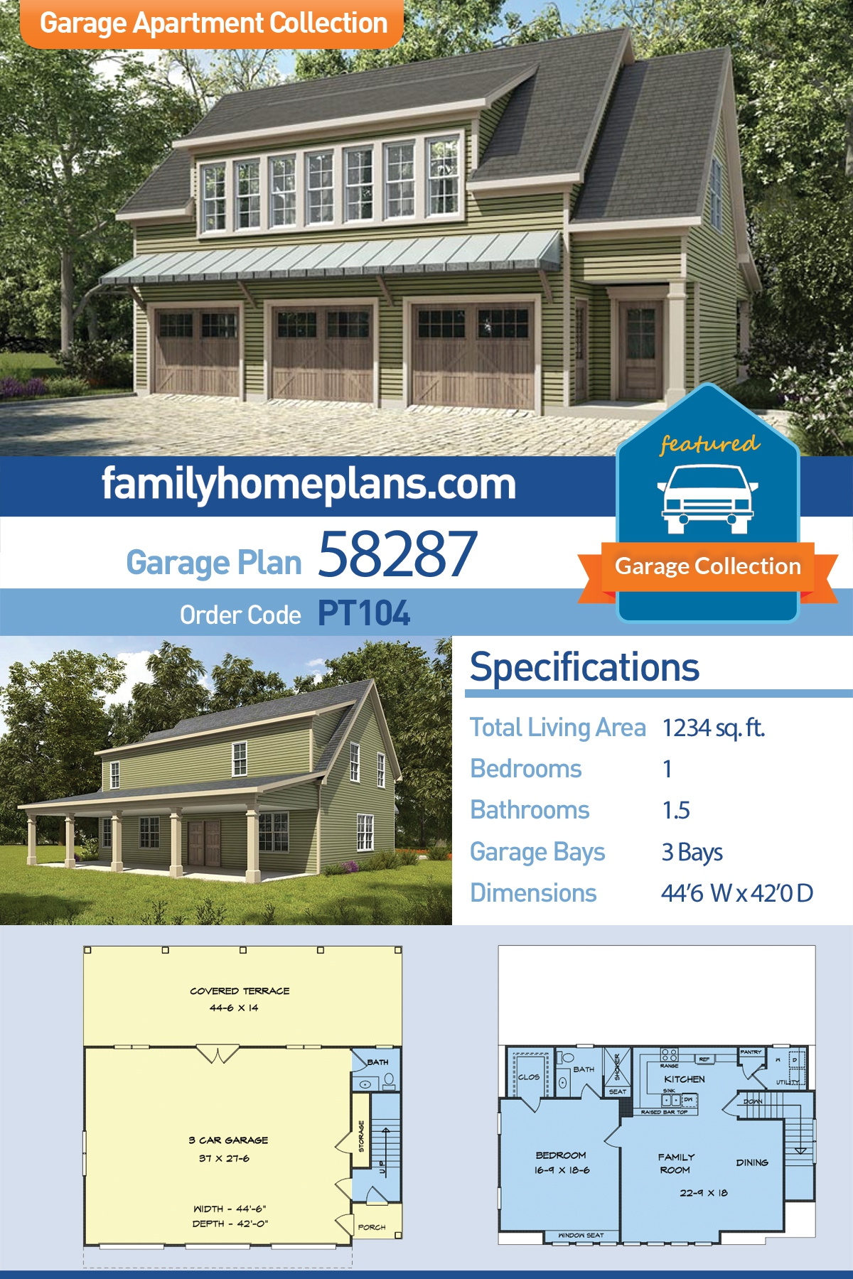 Country, Craftsman, Traditional Garage-Living Plan 58287 with 1 Beds, 2 Baths, 3 Car Garage