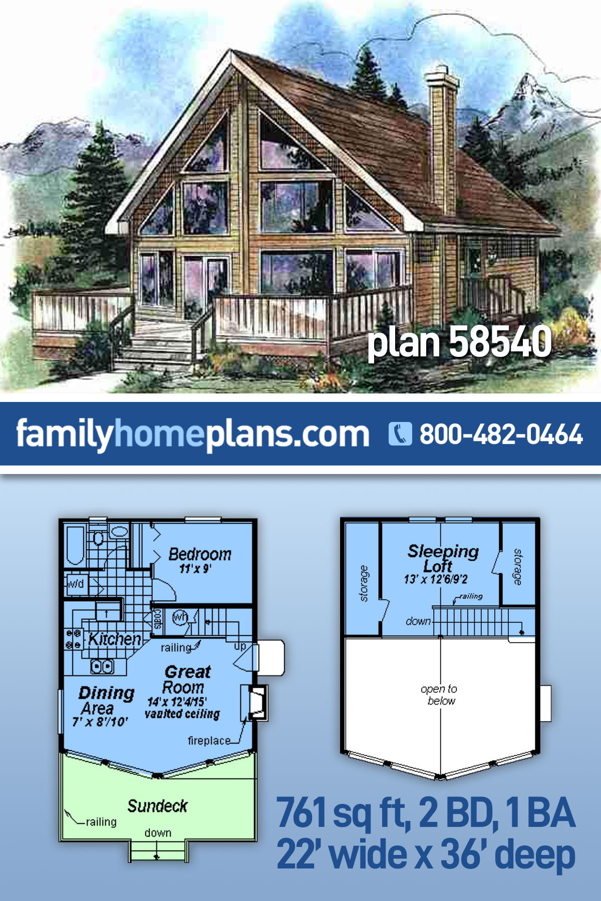 Contemporary House Plan 58540 with 2 Beds, 1 Baths