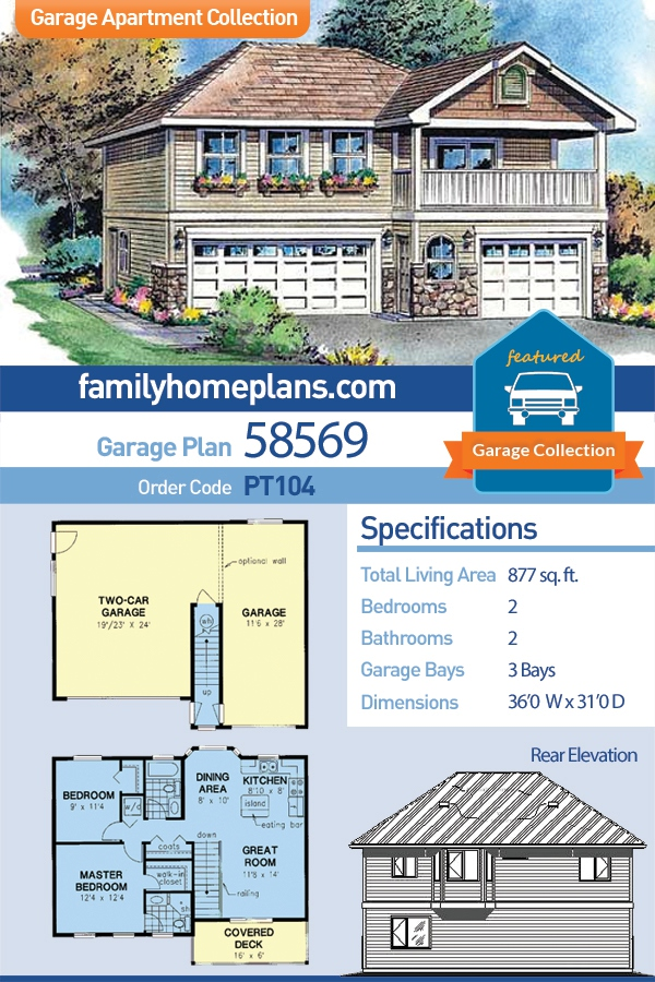 European, Ranch, Traditional 3 Car Garage Apartment Plan 58569 with 2 Beds, 2 Baths