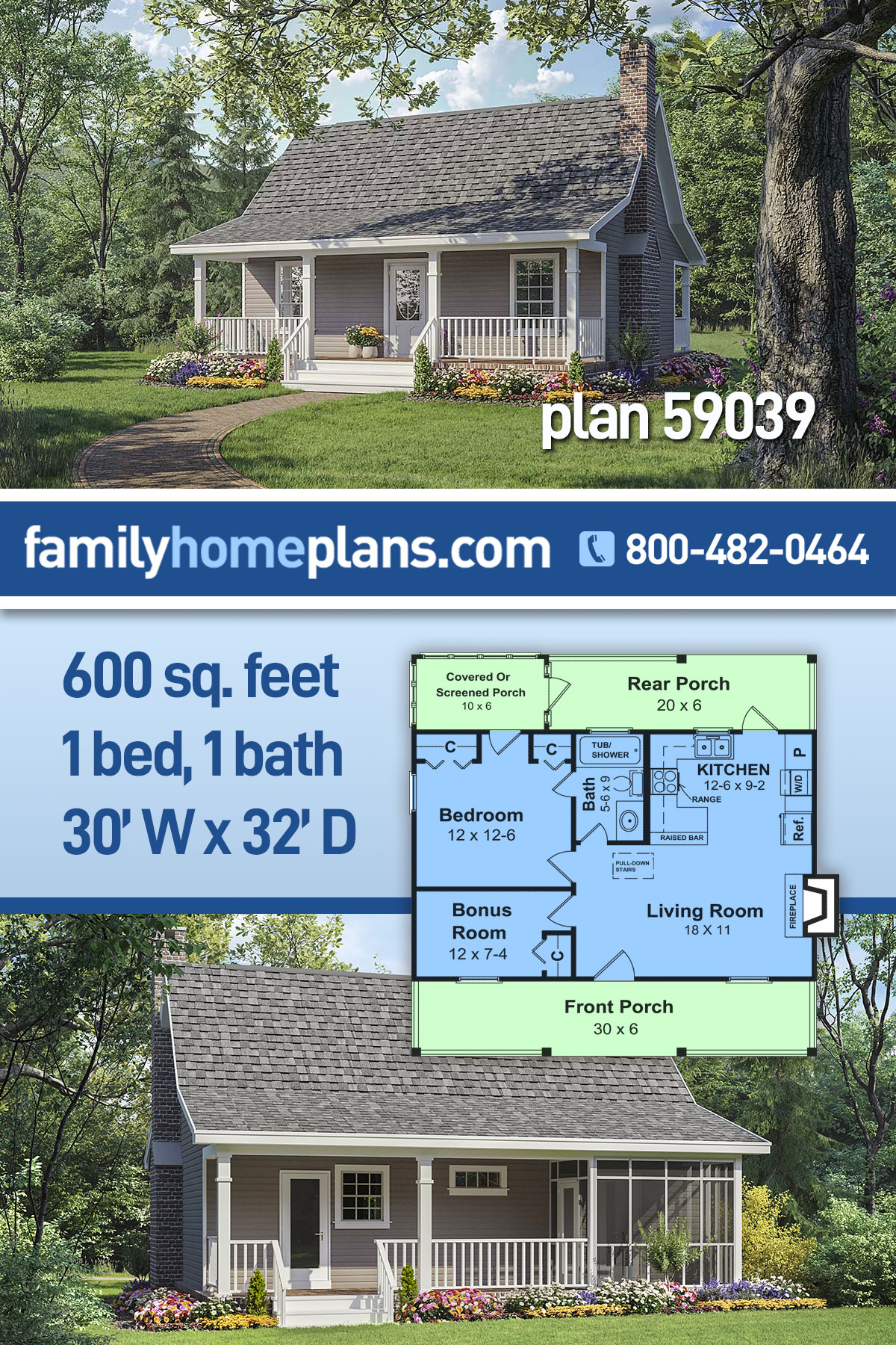 Cottage, Country, Southern House Plan 59039 with 1 Beds, 1 Baths