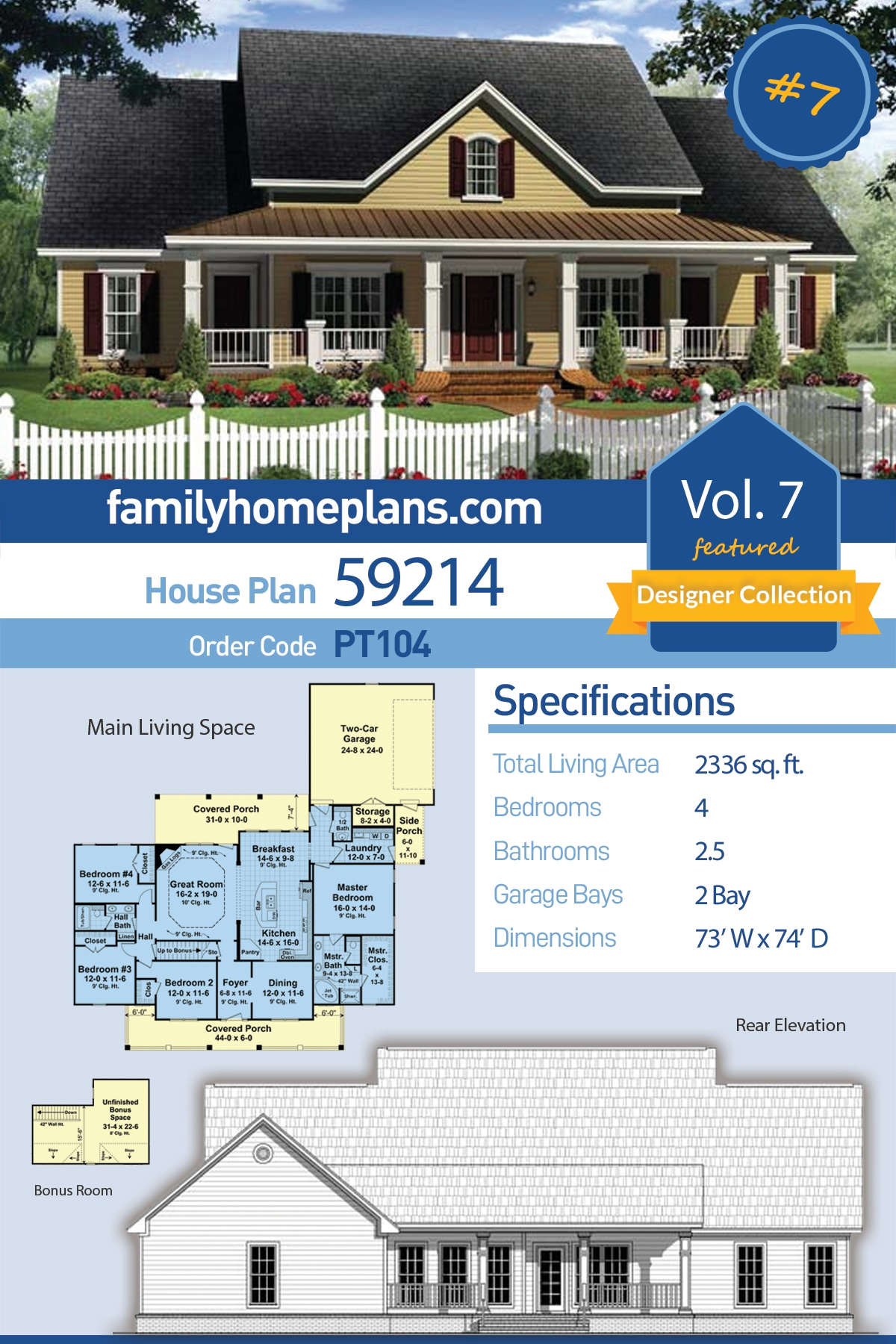 Country, Farmhouse, Traditional House Plan 59214 with 4 Beds, 3 Baths, 2 Car Garage