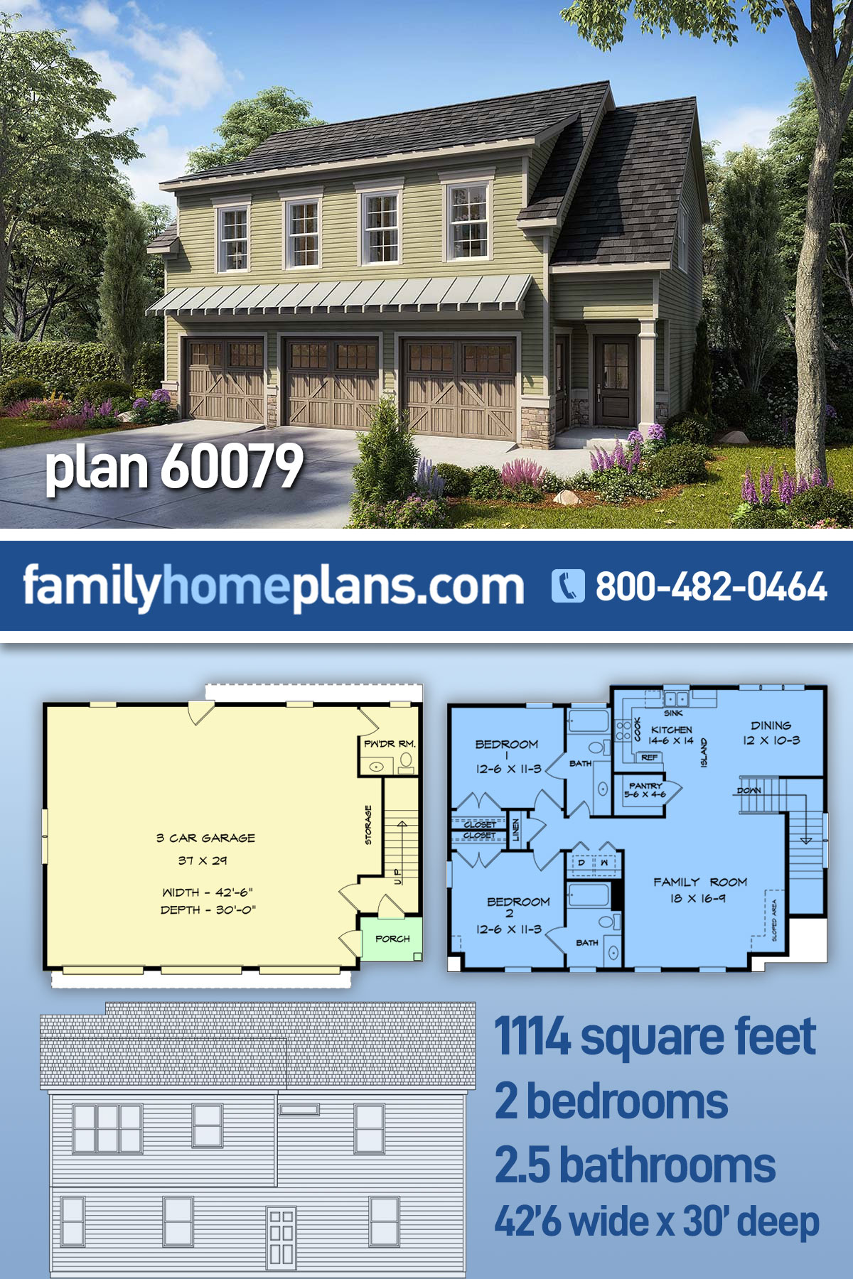 Country, Craftsman, Traditional Garage-Living Plan 60079 with 2 Beds, 3 Baths, 3 Car Garage