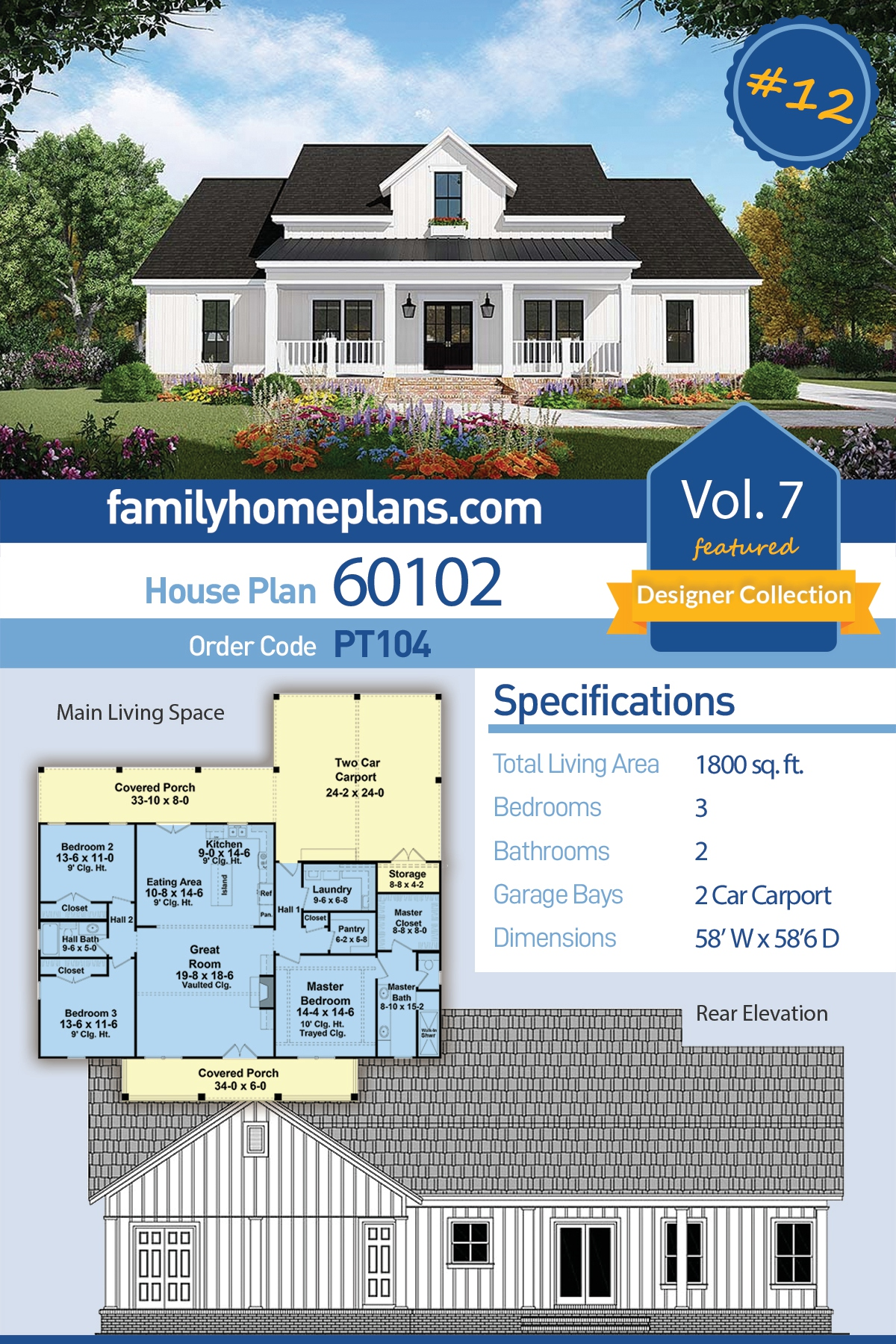 Country, Farmhouse, Southern House Plan 60102 with 3 Beds, 2 Baths