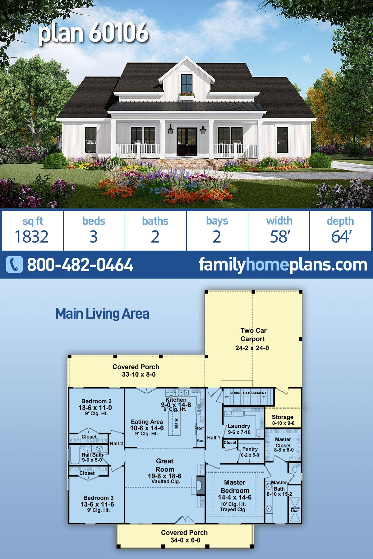 Country, Farmhouse, Ranch House Plan 60106 with 3 Beds, 2 Baths, 2 Car Garage