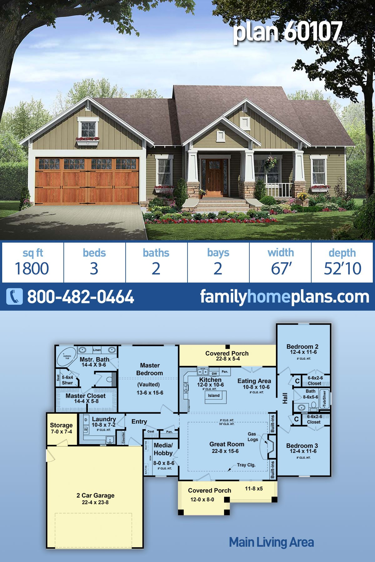 Cottage, Country, Craftsman House Plan 60107 with 3 Beds, 2 Baths, 2 Car Garage