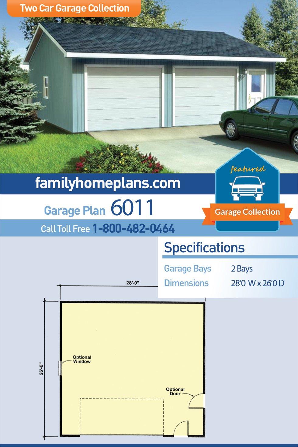 Ranch, Traditional 2 Car Garage Plan 6011