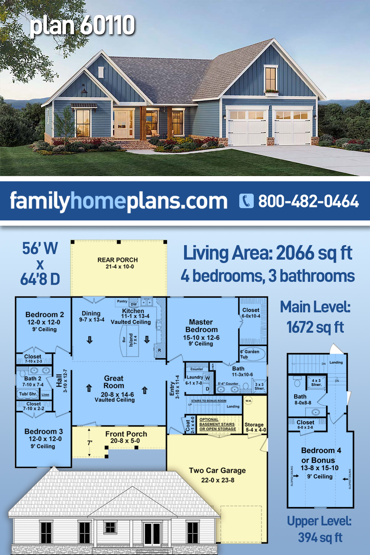 Country, Farmhouse, Ranch, Traditional House Plan 60110 with 4 Beds, 3 Baths, 2 Car Garage