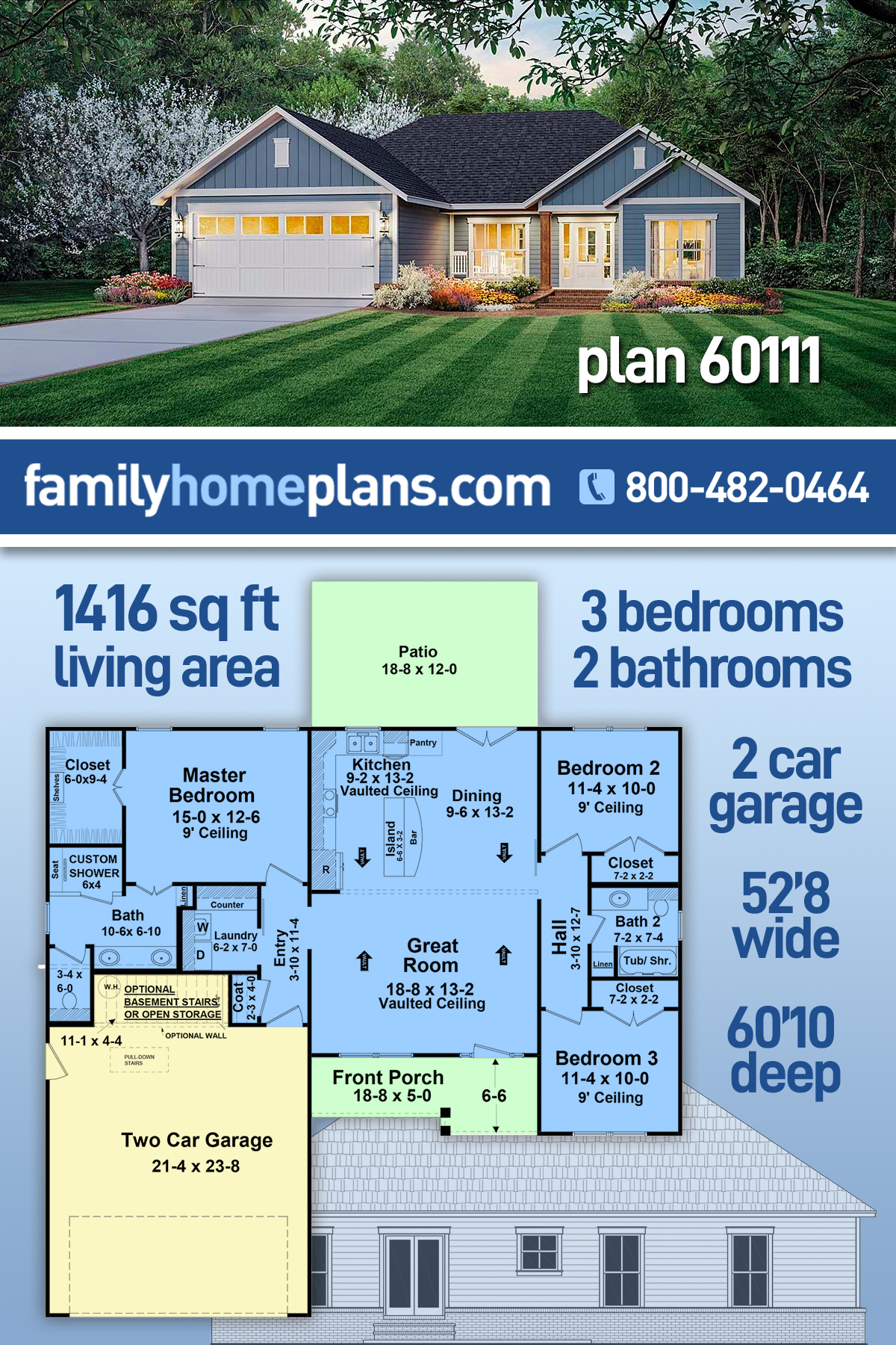 Country, Farmhouse, Ranch, Traditional House Plan 60111 with 3 Beds, 2 Baths, 2 Car Garage