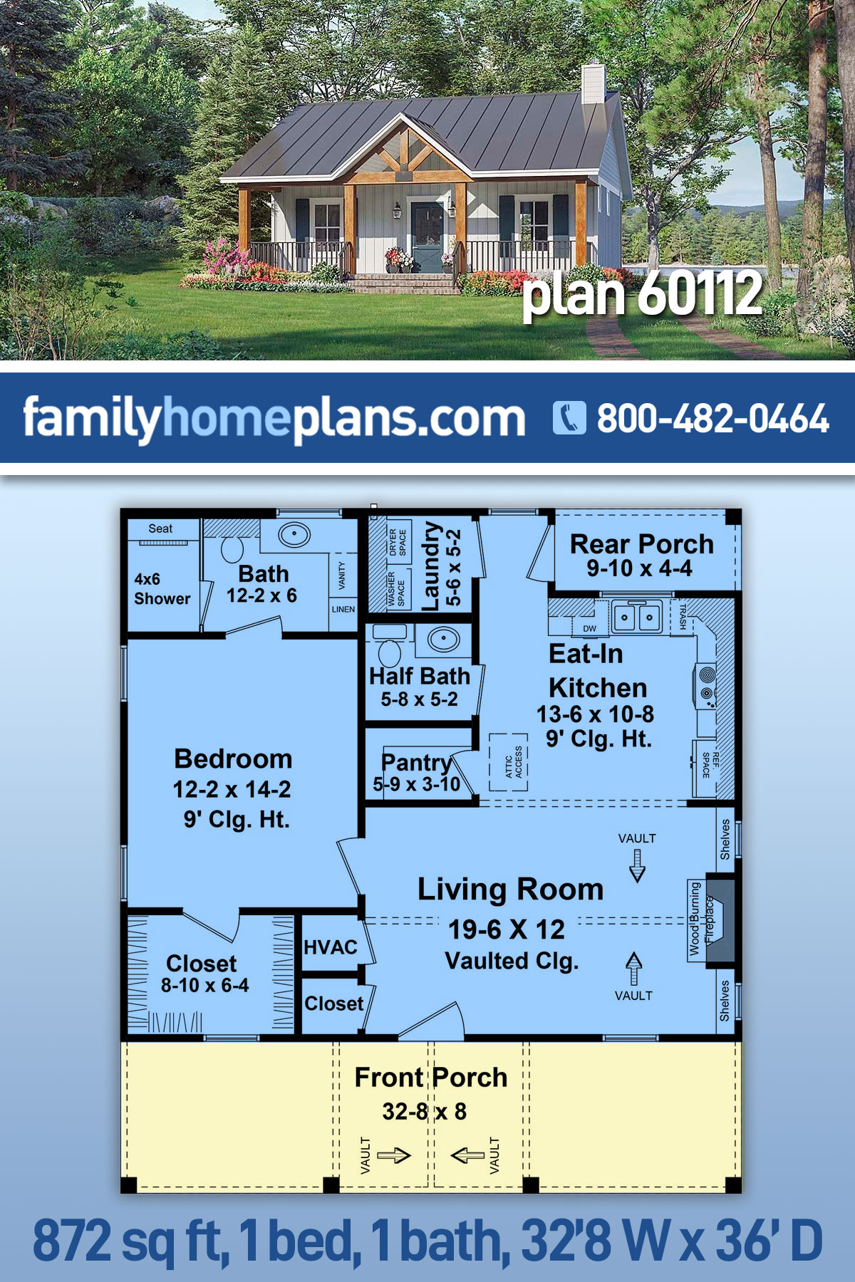 Cottage, Country, Farmhouse, Ranch House Plan 60112 with 1 Beds, 2 Baths