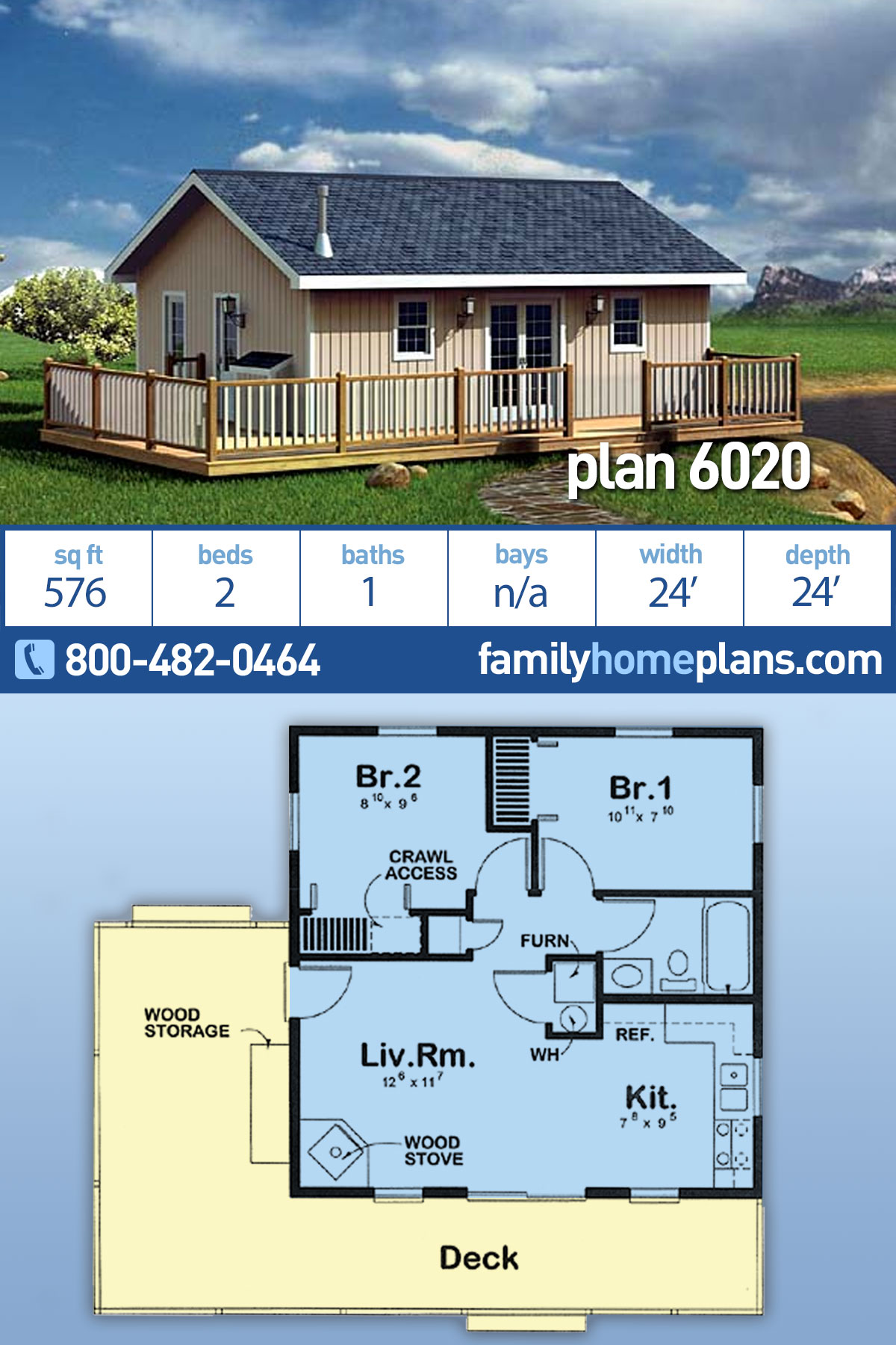Cabin, Traditional House Plan 6020 with 2 Beds, 1 Baths