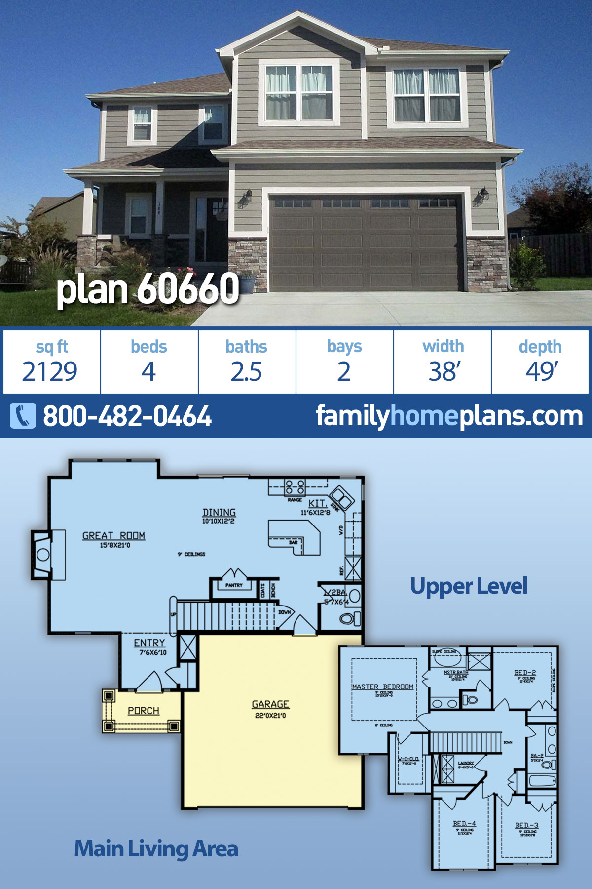 Traditional House Plan 60660 with 4 Beds, 3 Baths, 2 Car Garage