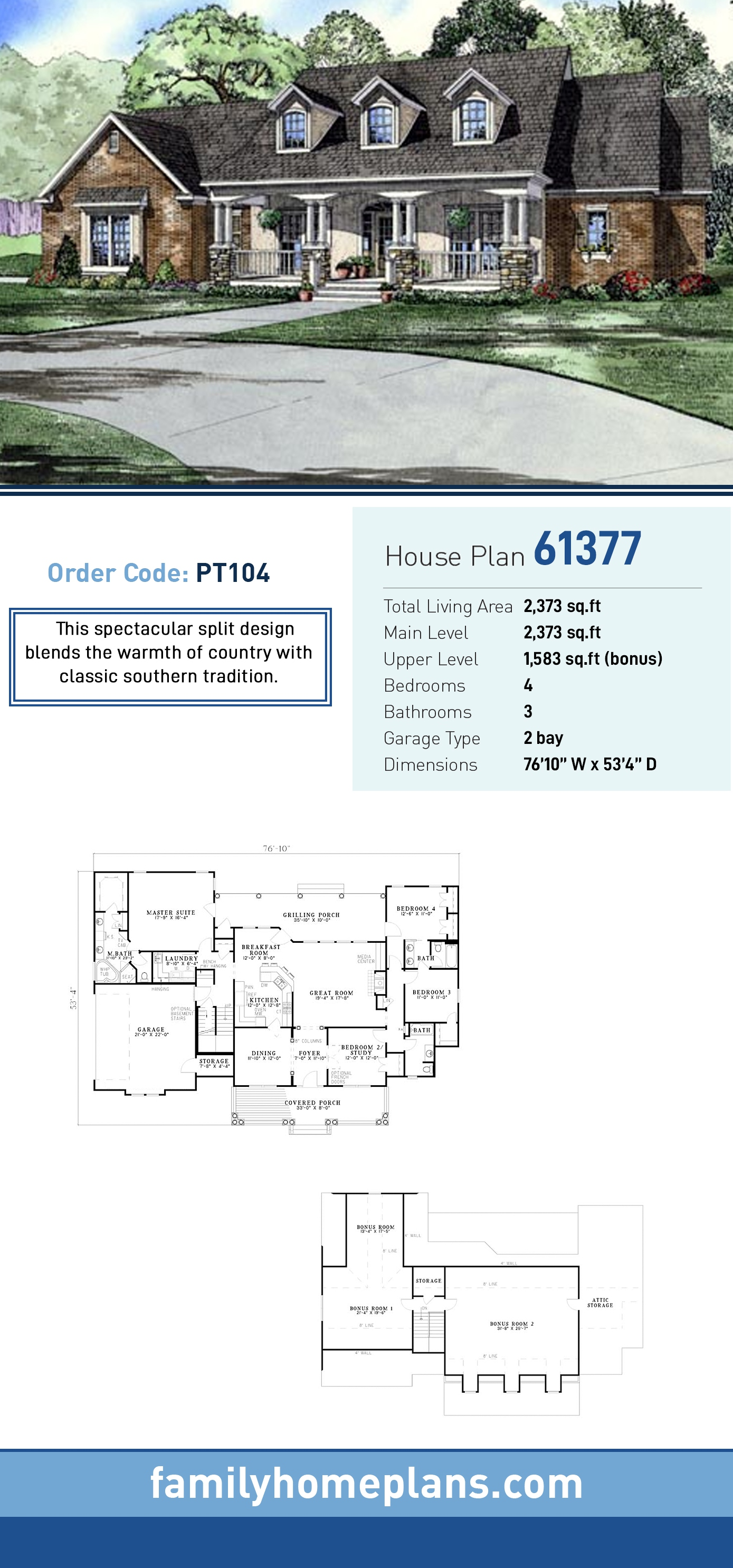 Country, Southern House Plan 61377 with 4 Beds, 3 Baths, 2 Car Garage