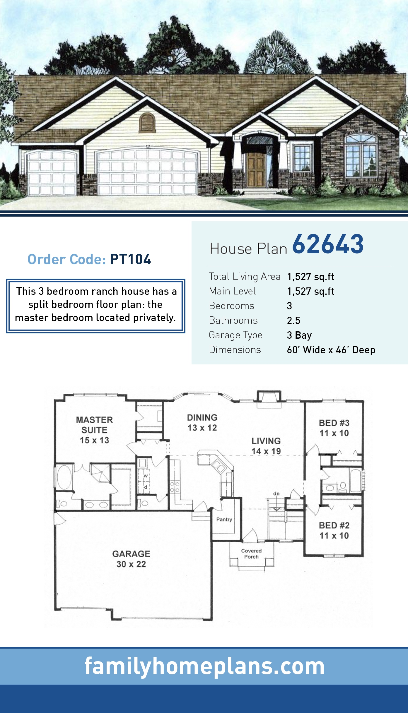 Traditional House Plan 62643 with 3 Beds, 3 Baths, 3 Car Garage