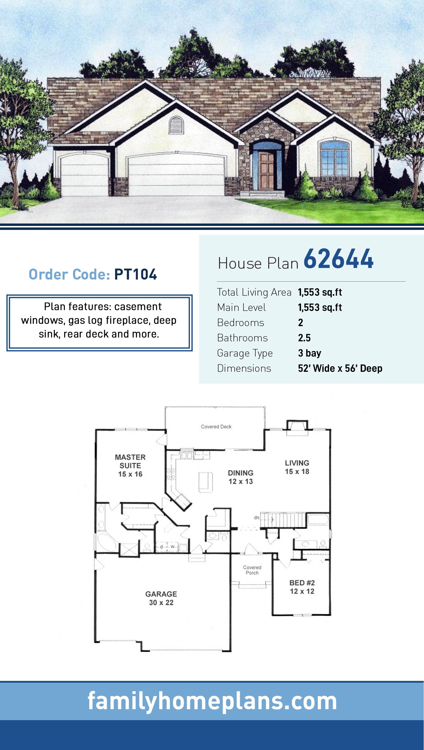 Traditional House Plan 62644 with 2 Beds, 3 Baths, 3 Car Garage