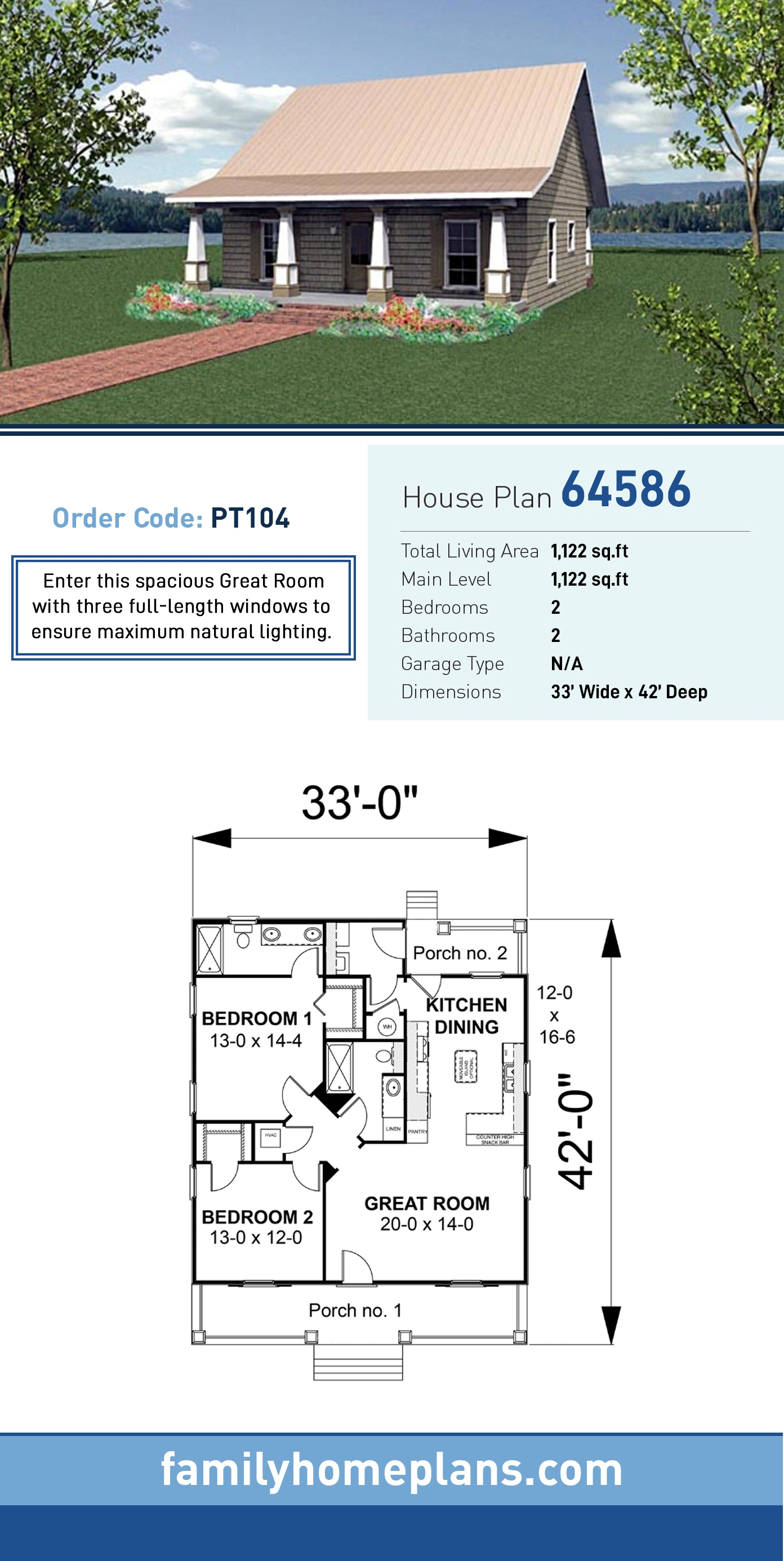 Cottage, Country House Plan 64586 with 2 Beds, 2 Baths