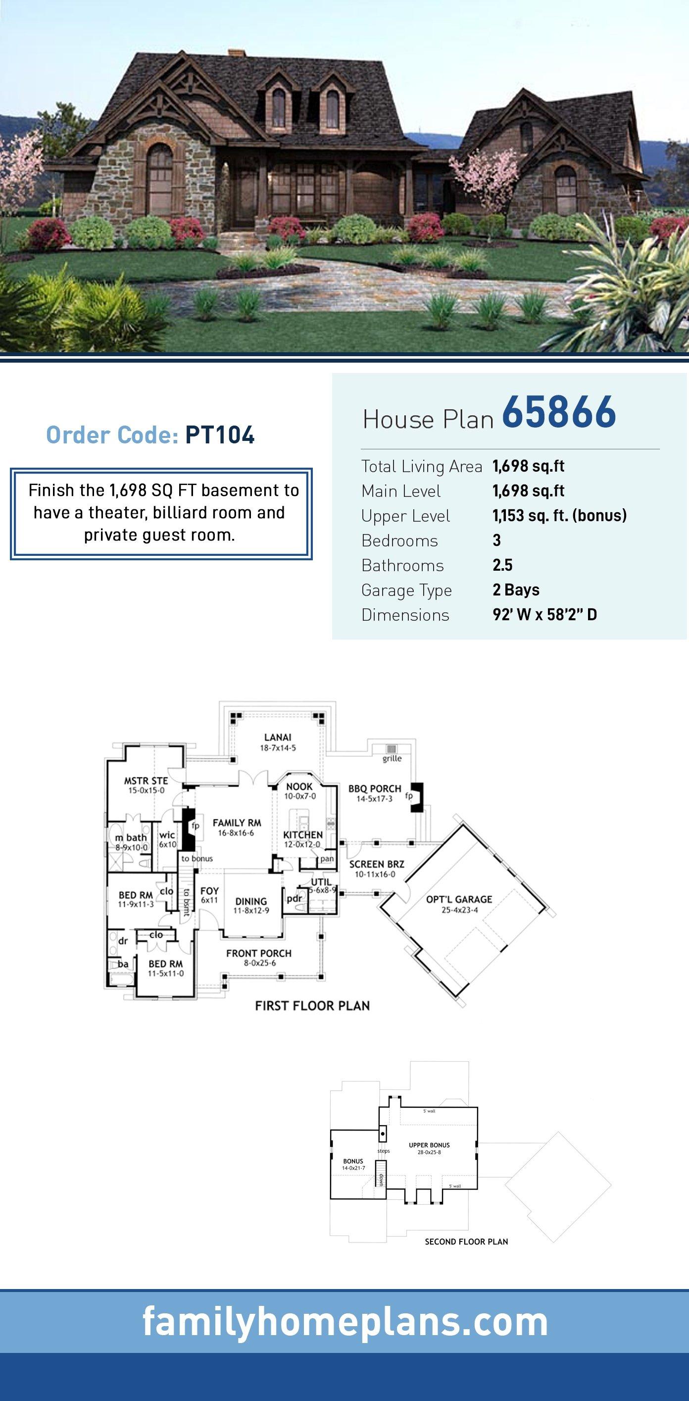 Cottage, Craftsman, Tuscan House Plan 65866 with 3 Beds, 3 Baths, 2 Car Garage