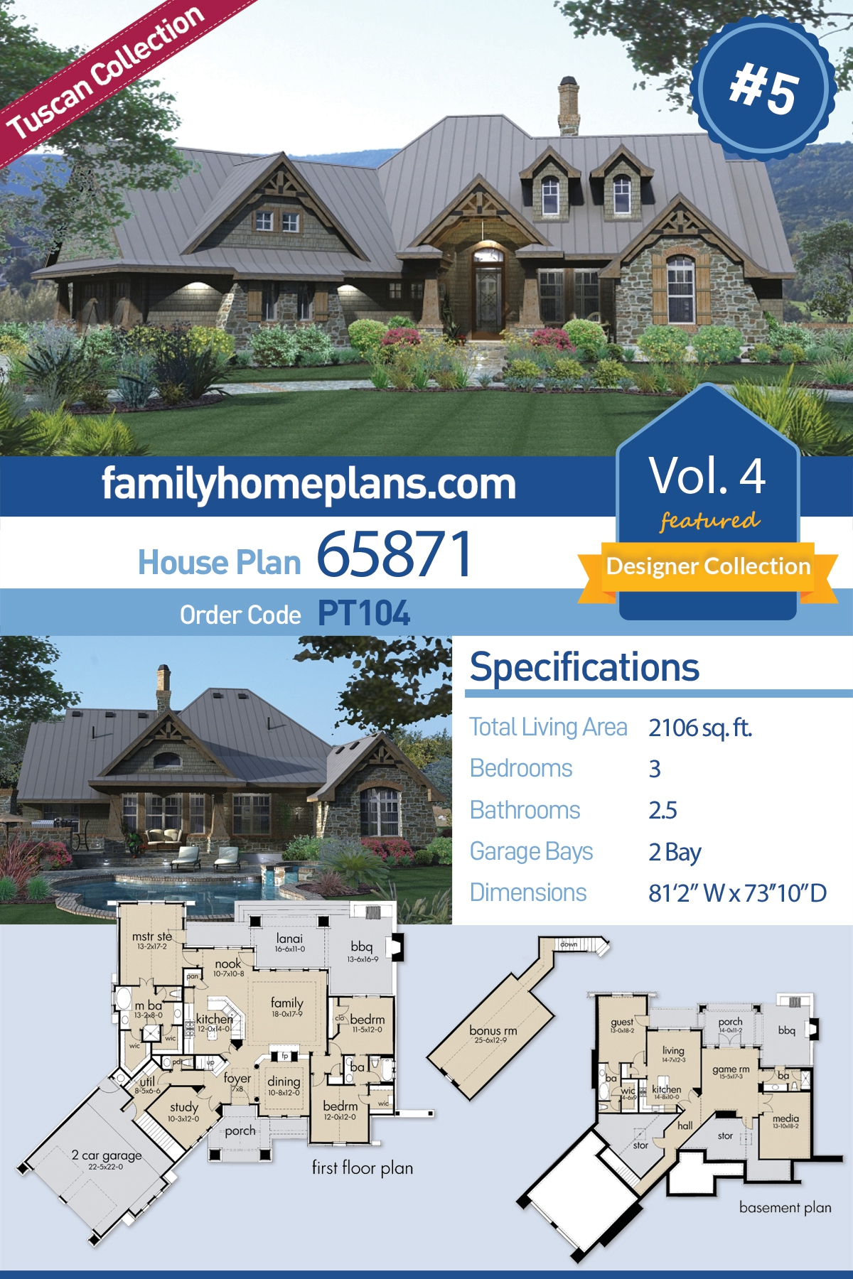 Craftsman, Tuscan House Plan 65871 with 3 Beds, 3 Baths, 2 Car Garage