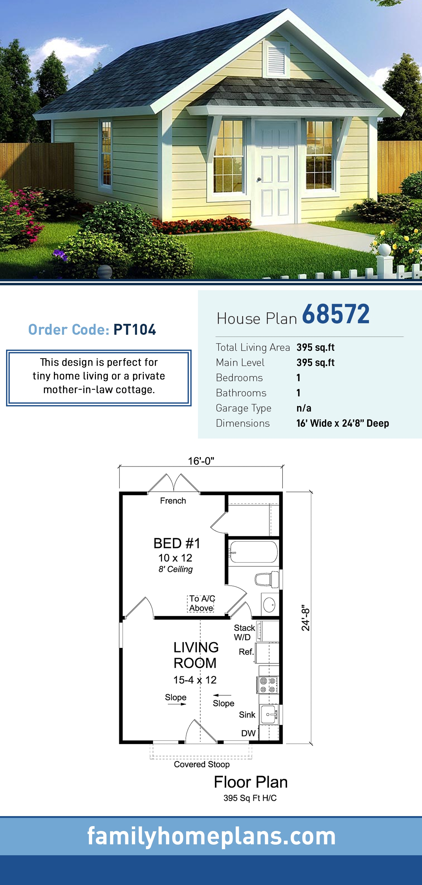 Cottage, Country, Ranch, Traditional House Plan 68572 with 1 Beds, 1 Baths