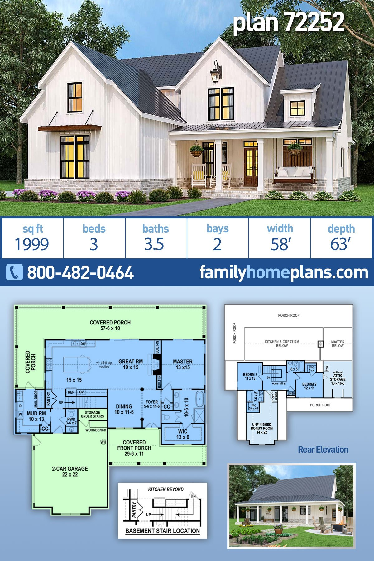 Country, Farmhouse, Southern House Plan 72252 with 3 Beds, 4 Baths, 2 Car Garage