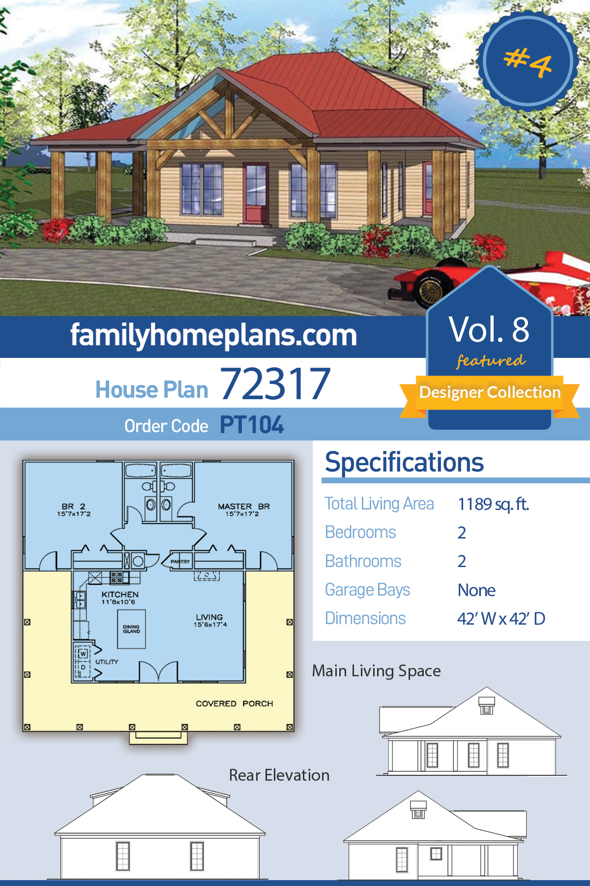 Cottage, Florida, Southern House Plan 72317 with 2 Beds, 2 Baths