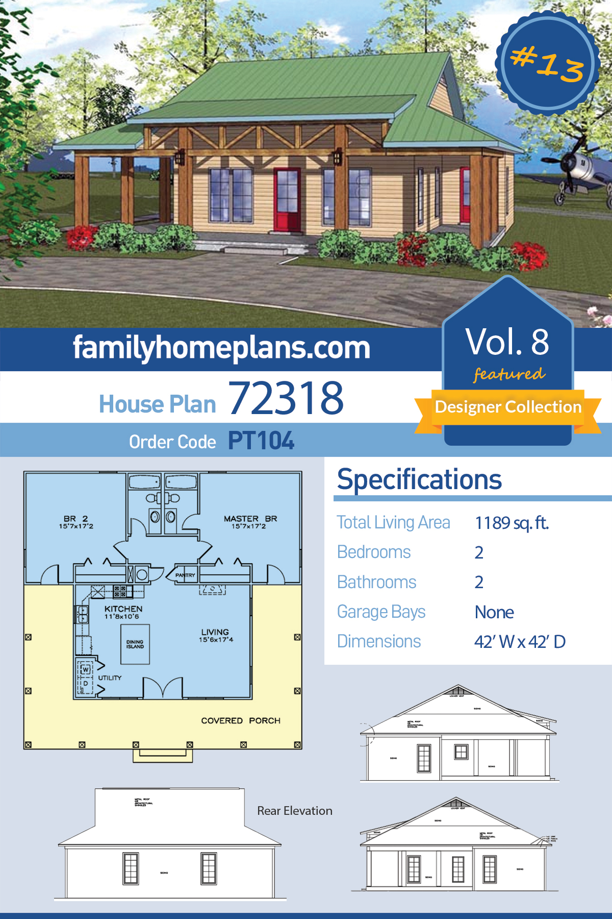 Cottage, Florida, Southern House Plan 72318 with 2 Beds, 2 Baths