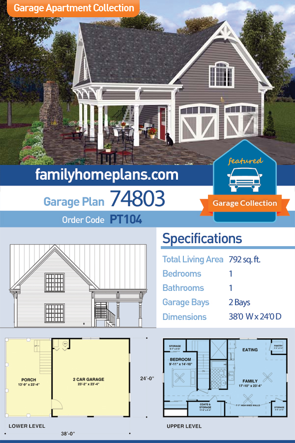 Craftsman, Traditional 2 Car Garage Apartment Plan 74803 with 1 Beds, 1 Baths