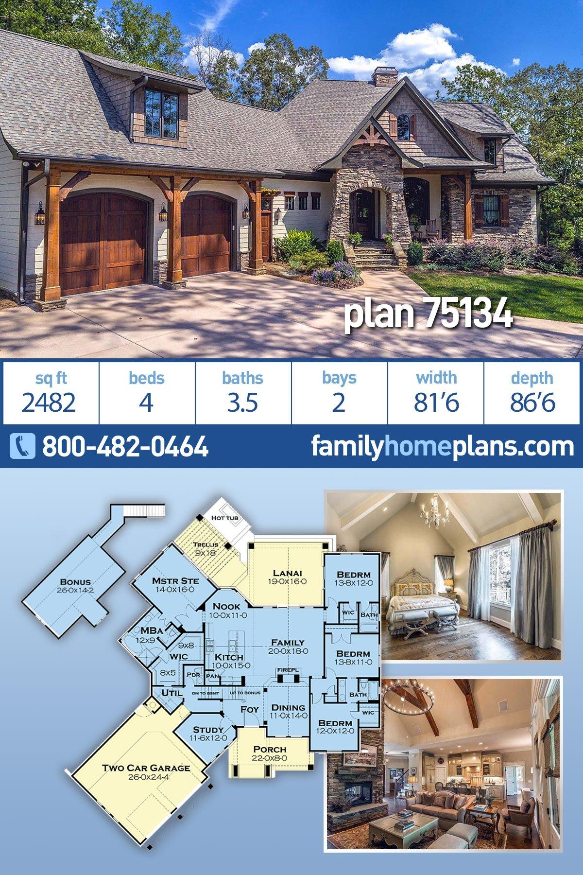 Cottage, Craftsman, Tuscan House Plan 75134 with 4 Beds, 4 Baths, 2 Car Garage