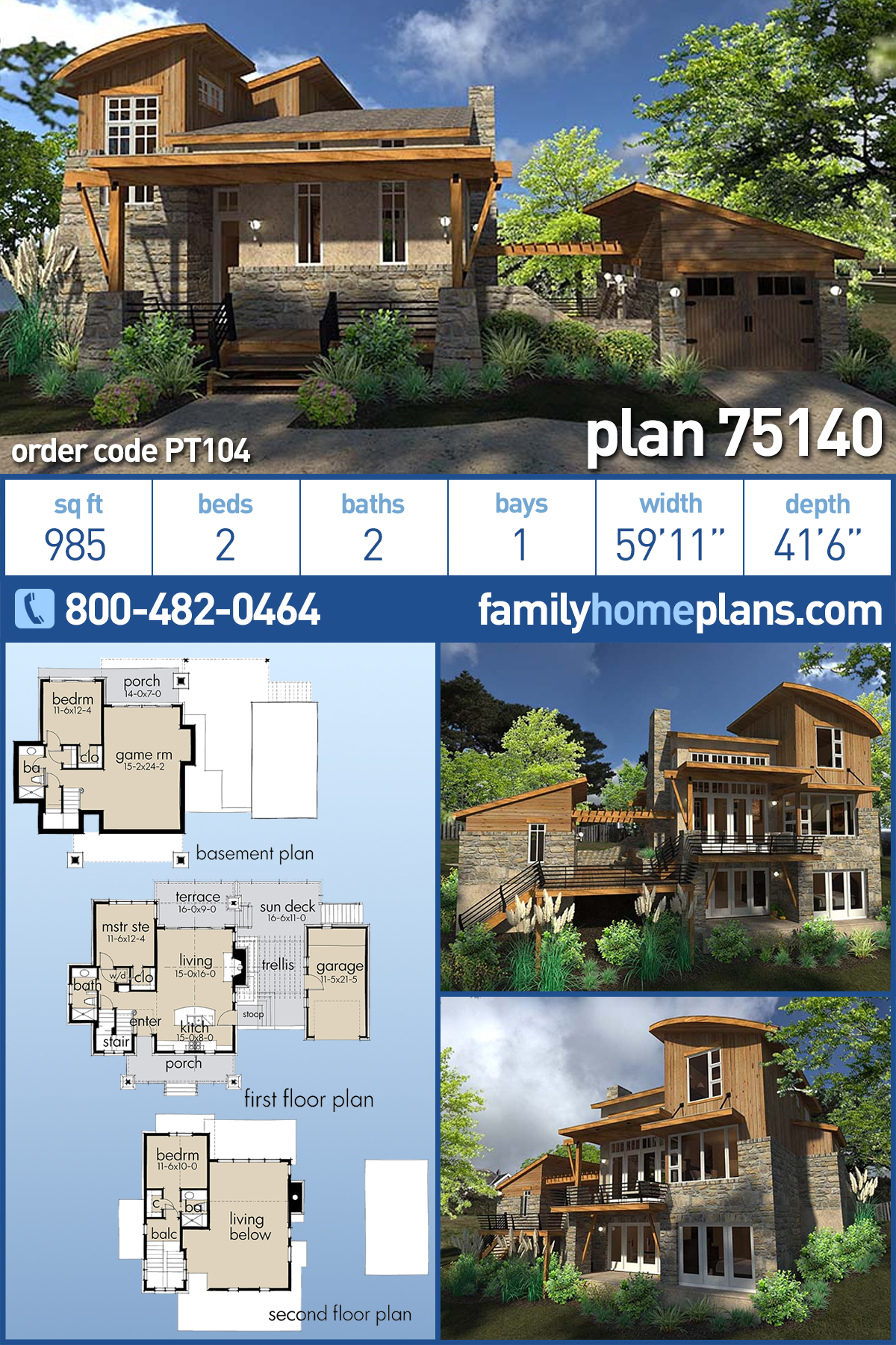 Contemporary, Cottage, Craftsman, Modern, Tuscan House Plan 75140 with 2 Beds, 2 Baths, 1 Car Garage