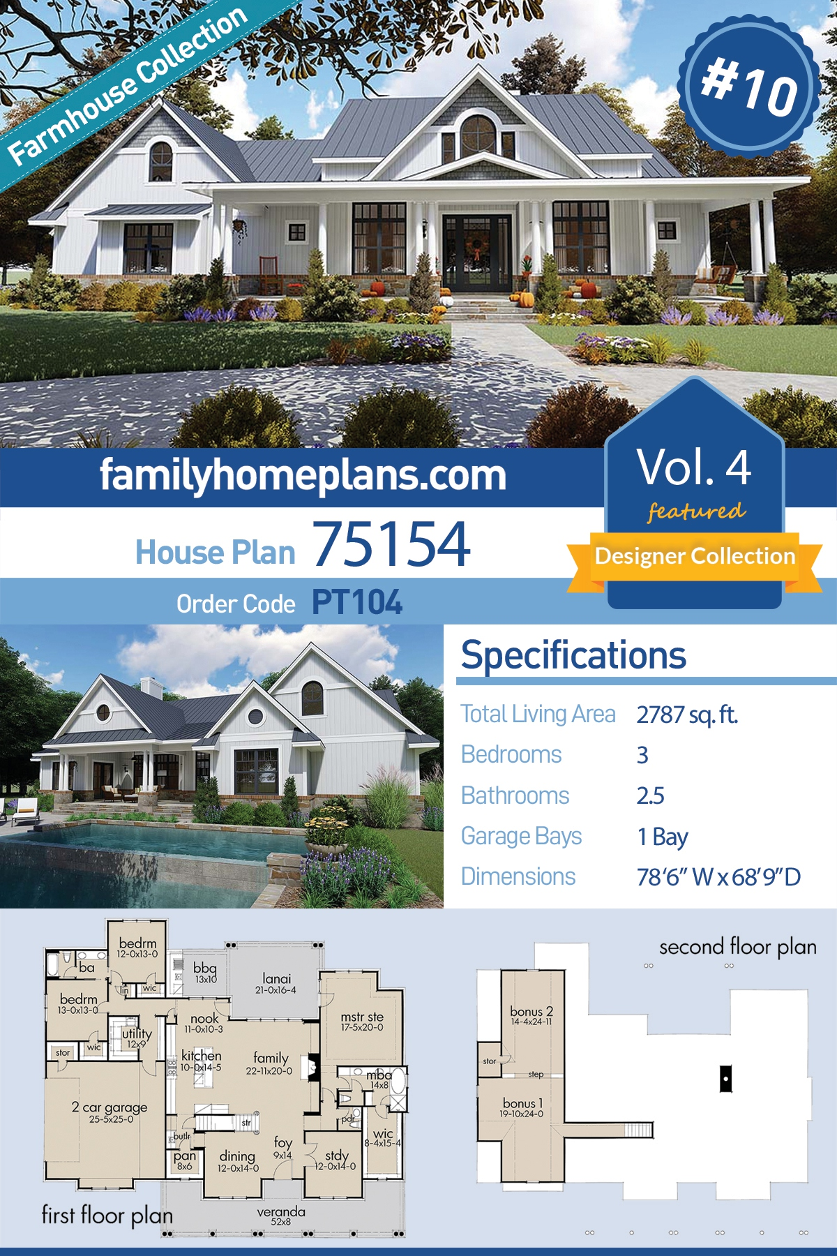 Country, Farmhouse, Southern House Plan 75154 with 3 Beds, 3 Baths, 2 Car Garage