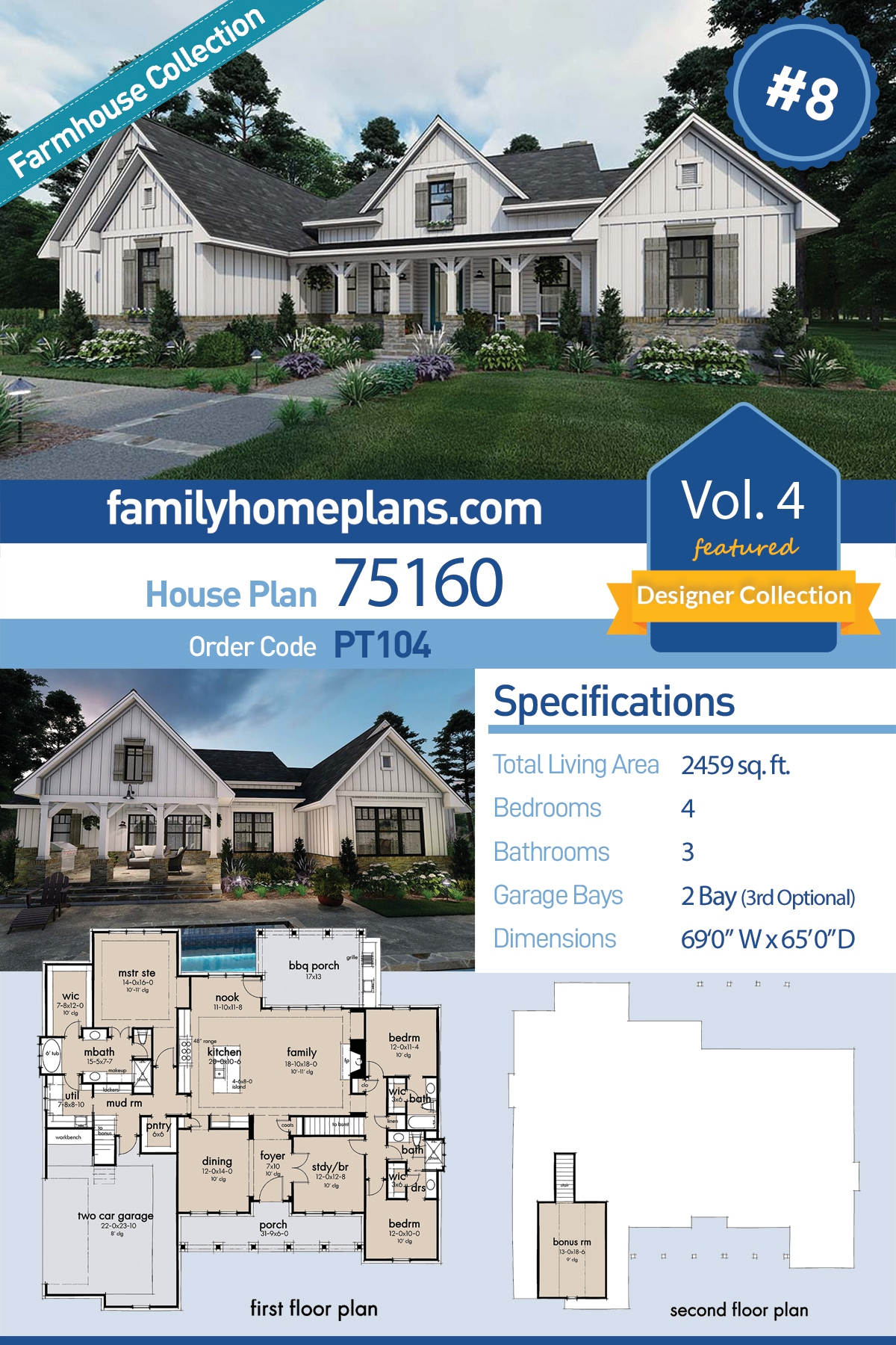 Cottage, Farmhouse, Southern House Plan 75160 with 4 Beds, 3 Baths, 2 Car Garage