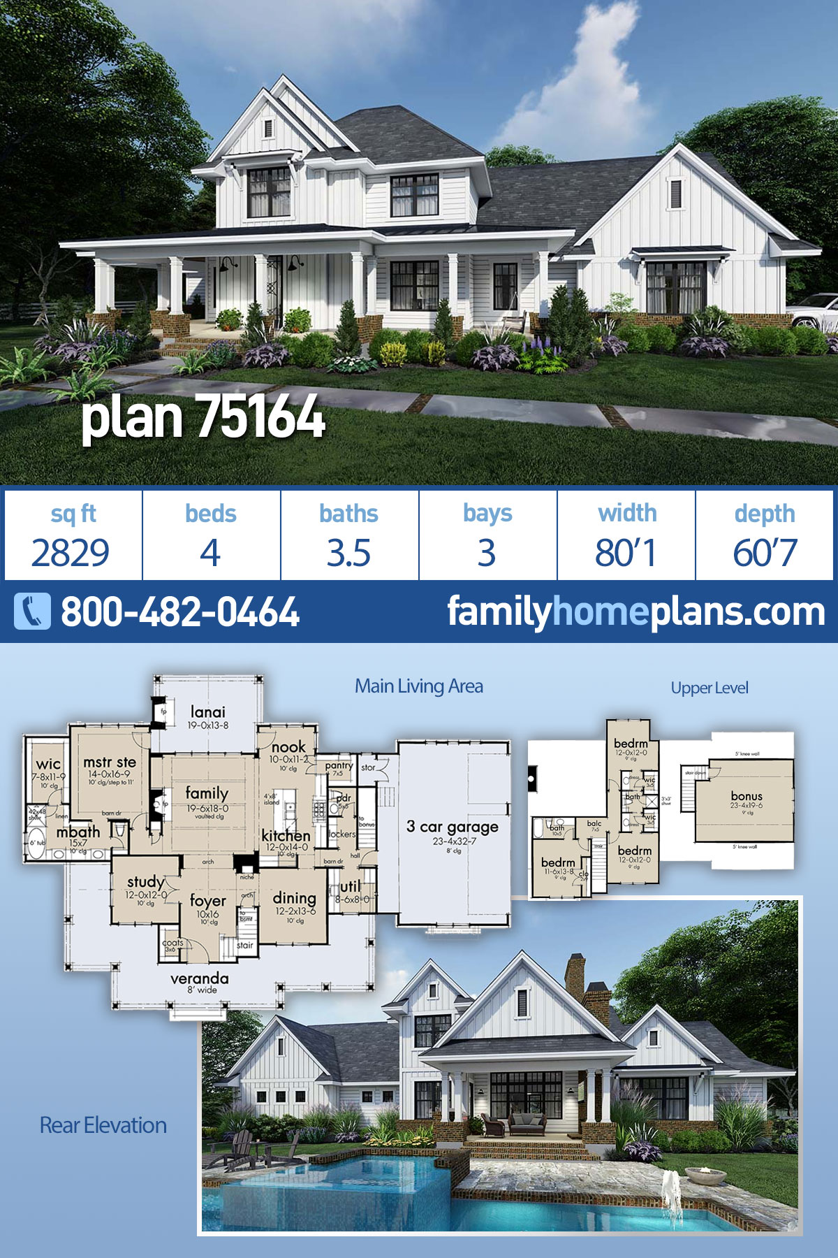 Country, Farmhouse House Plan 75164 with 4 Beds, 4 Baths, 3 Car Garage