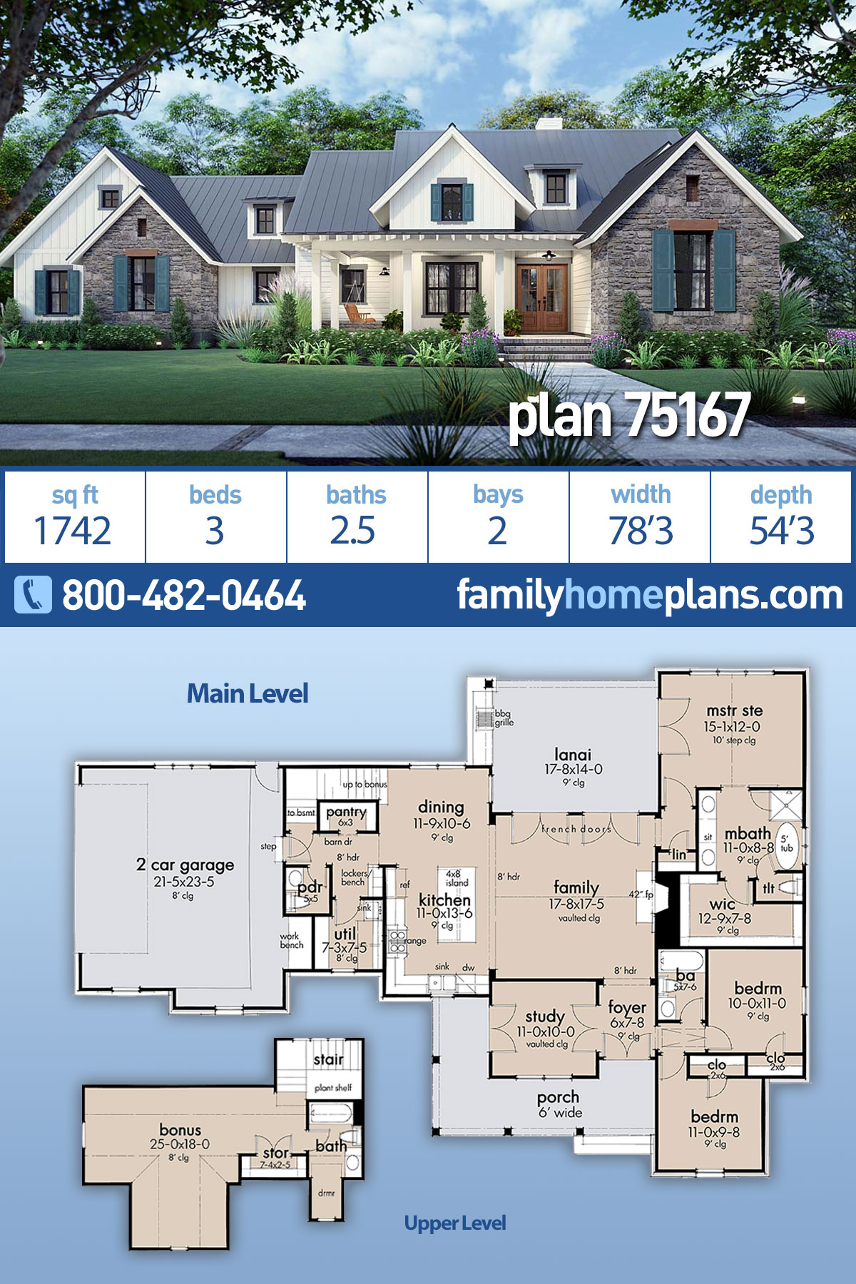 Cottage, Country, Farmhouse, Southern House Plan 75167 with 3 Beds, 3 Baths, 2 Car Garage
