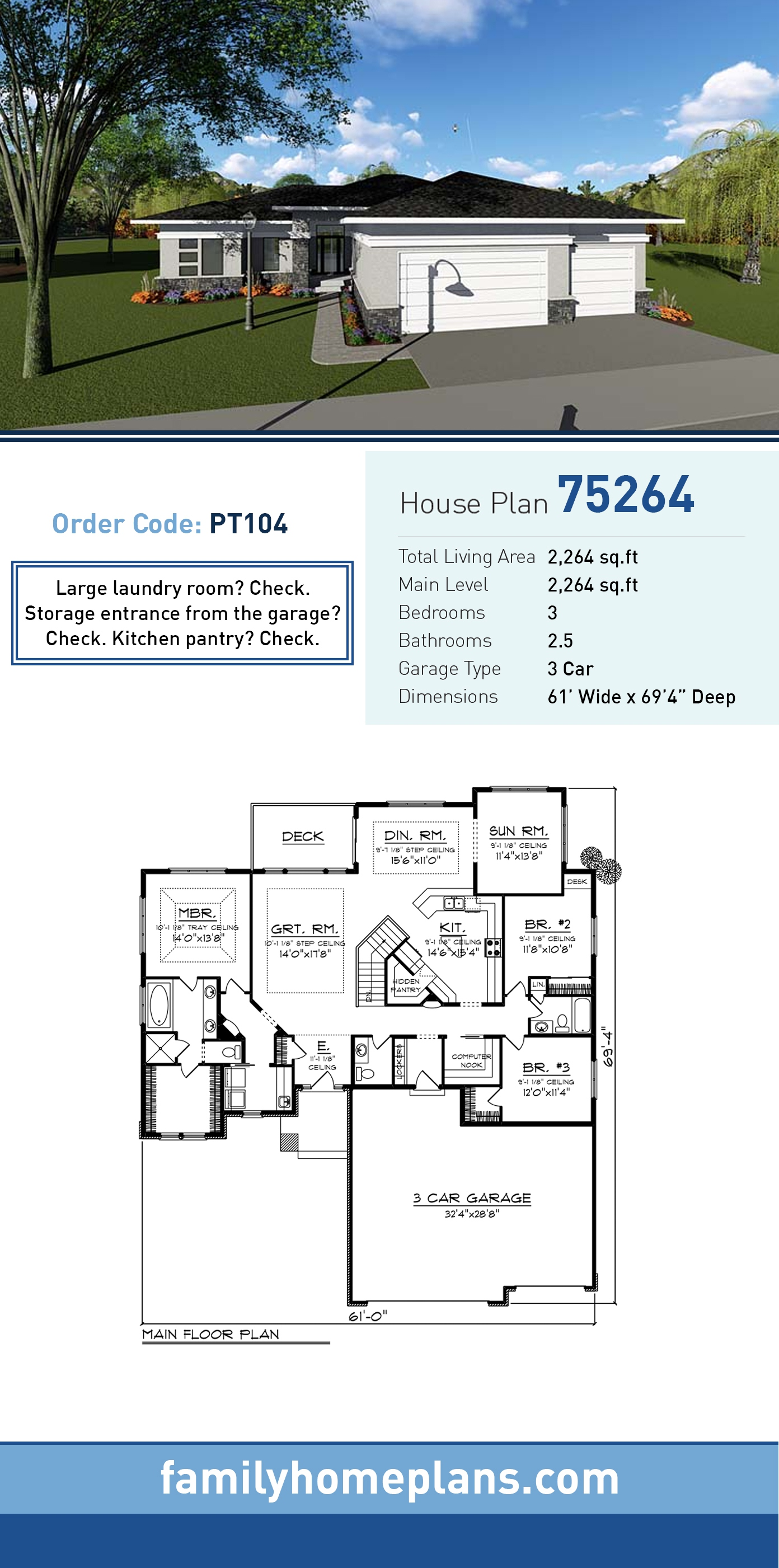 Contemporary, Ranch, Southwest House Plan 75264 with 3 Beds, 3 Baths, 3 Car Garage