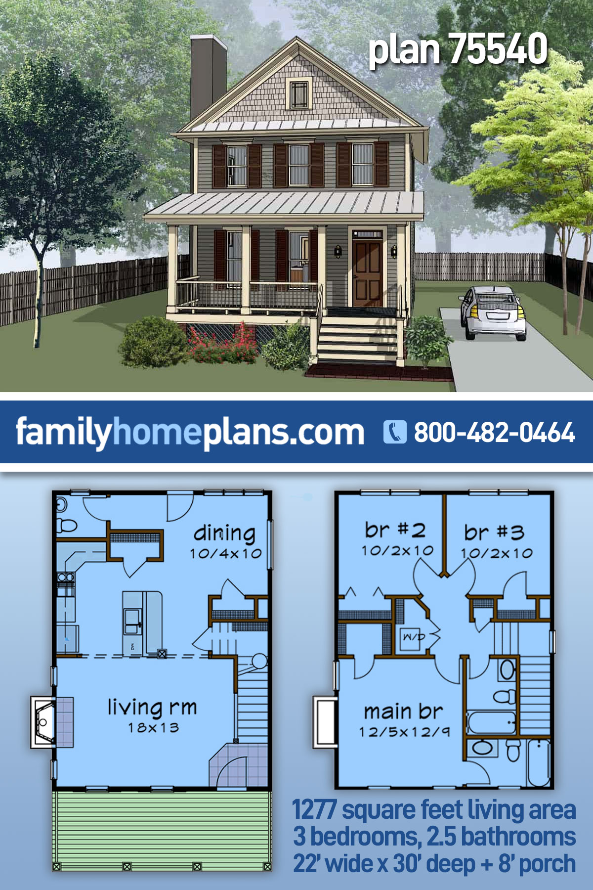 Colonial, Southern House Plan 75540 with 3 Beds, 3 Baths
