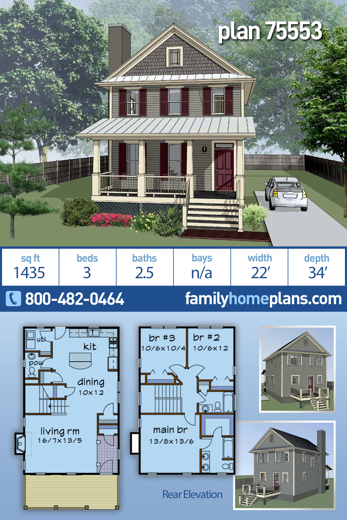 Colonial, Country House Plan 75553 with 3 Beds, 3 Baths