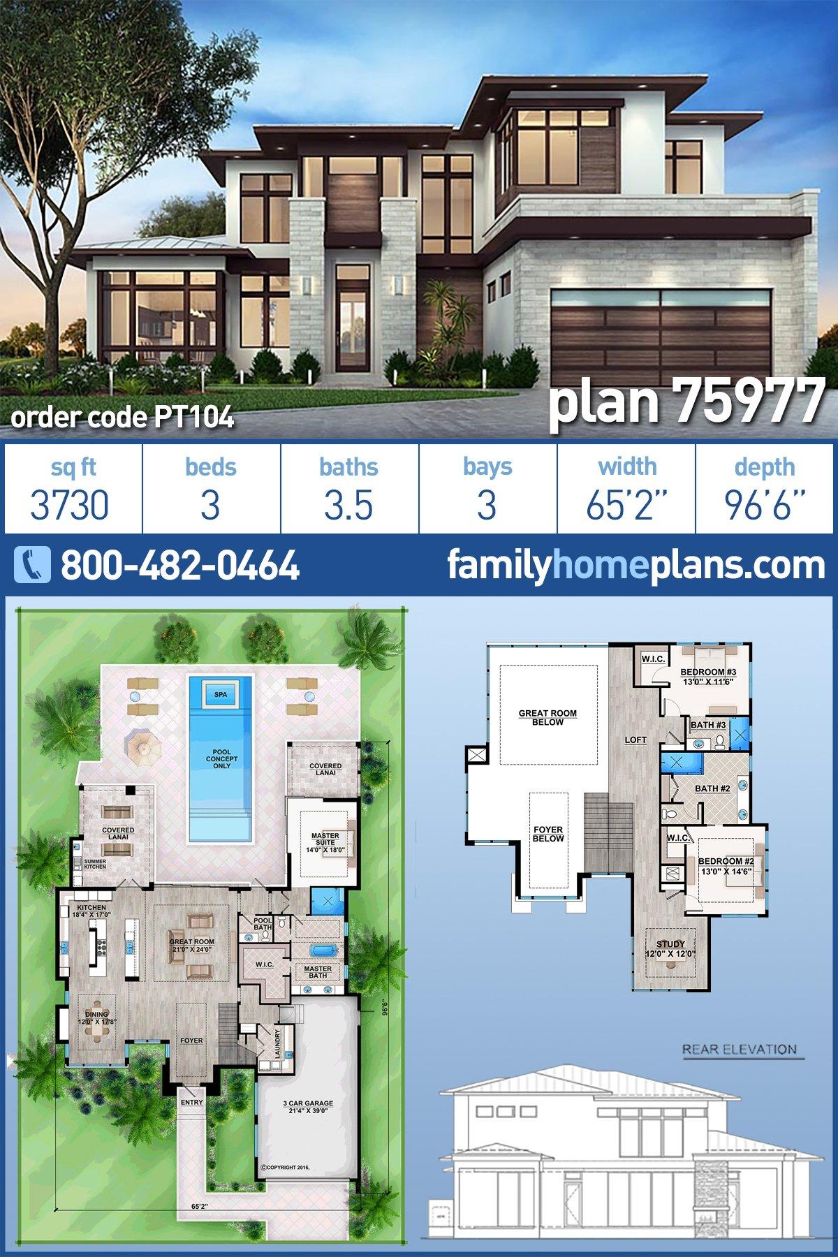 Contemporary, Florida, Modern House Plan 75977 with 3 Beds, 4 Baths, 3 Car Garage