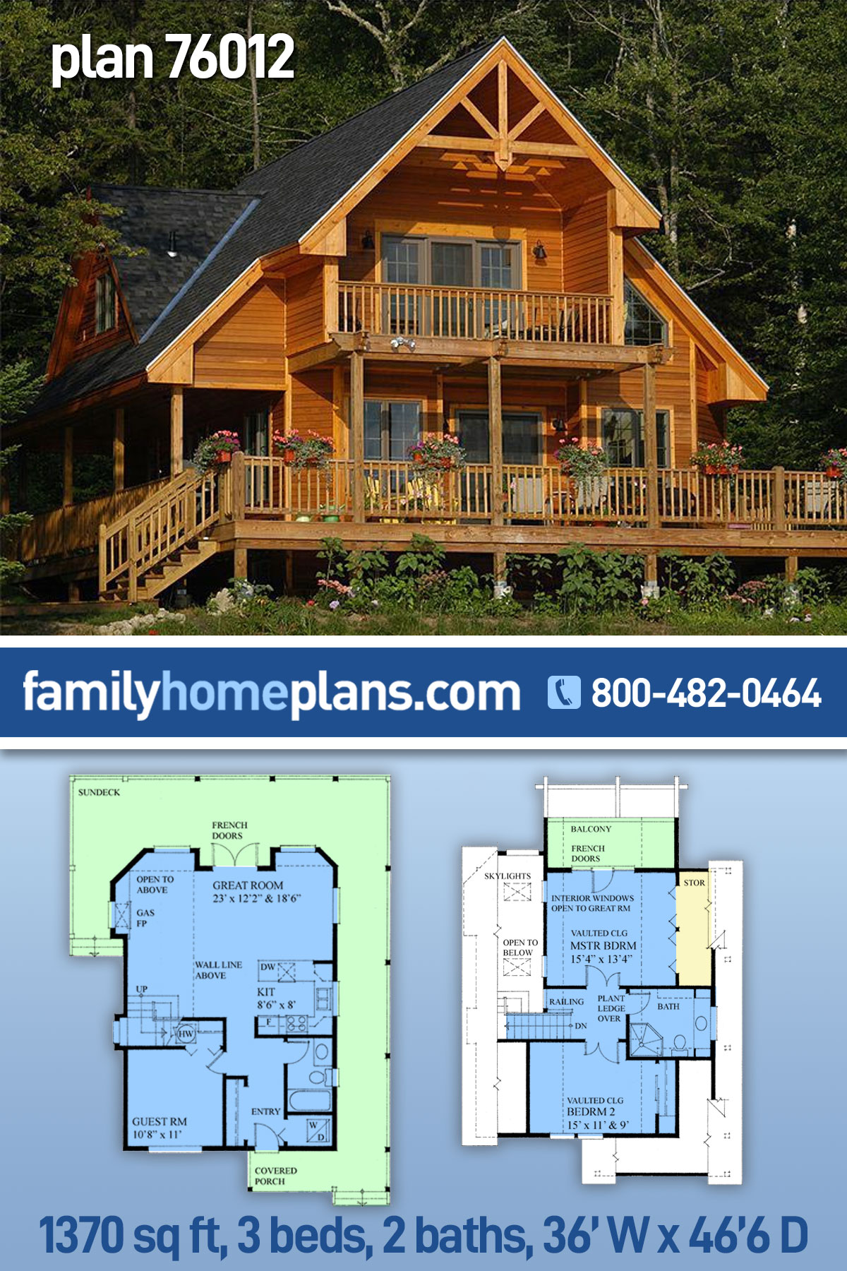 Cabin, Contemporary House Plan 76012 with 3 Beds, 2 Baths